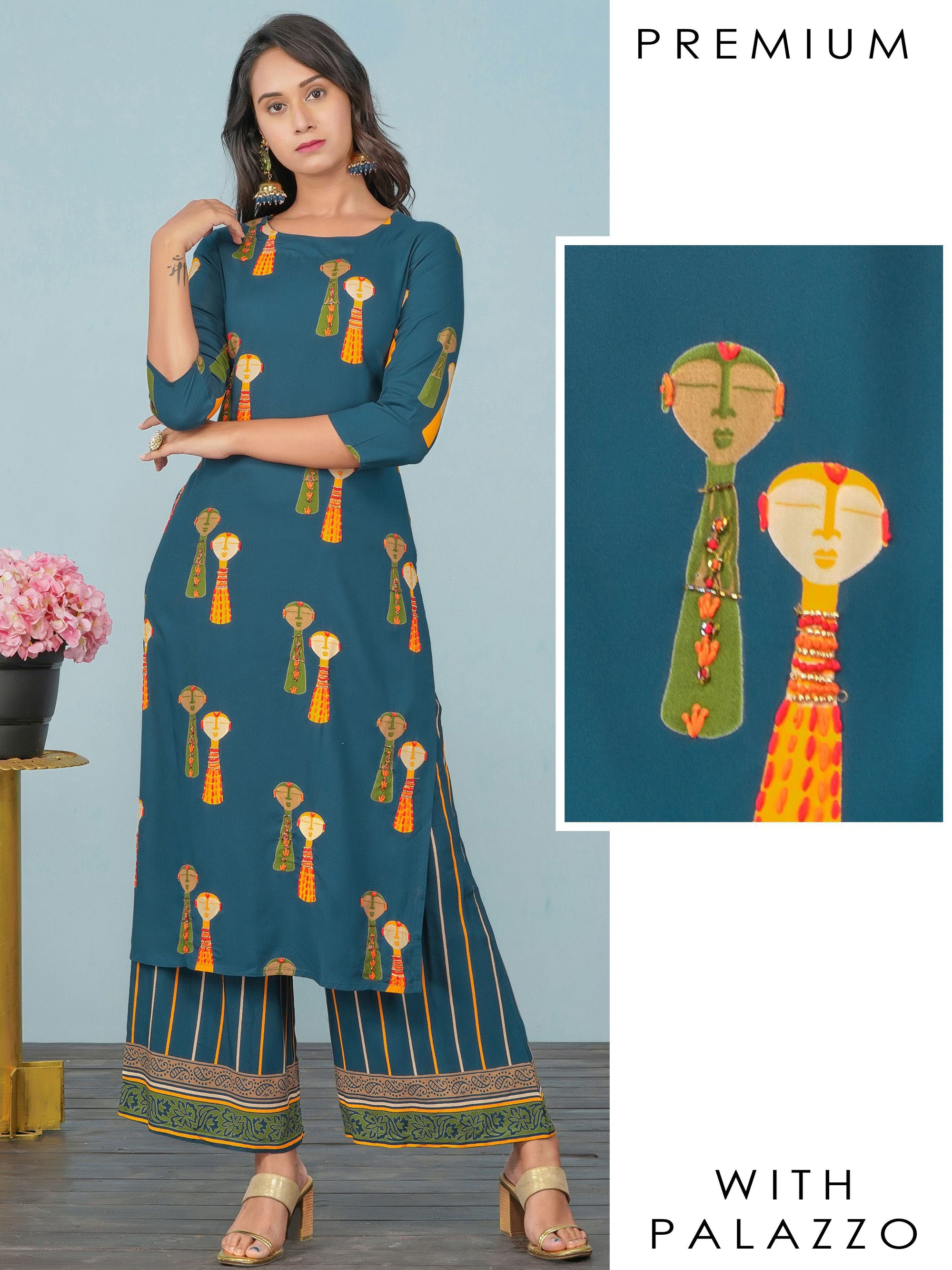 Cutdana Embellished Tribal Printed Kurti & Striped Palazzo Set