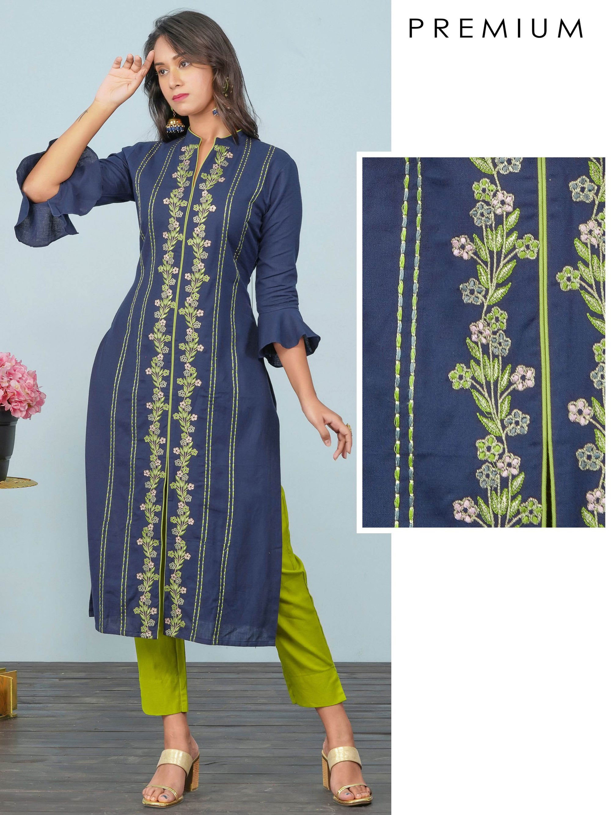 Floral & Chain Embroidered Cotton Kurti – Navy Blue