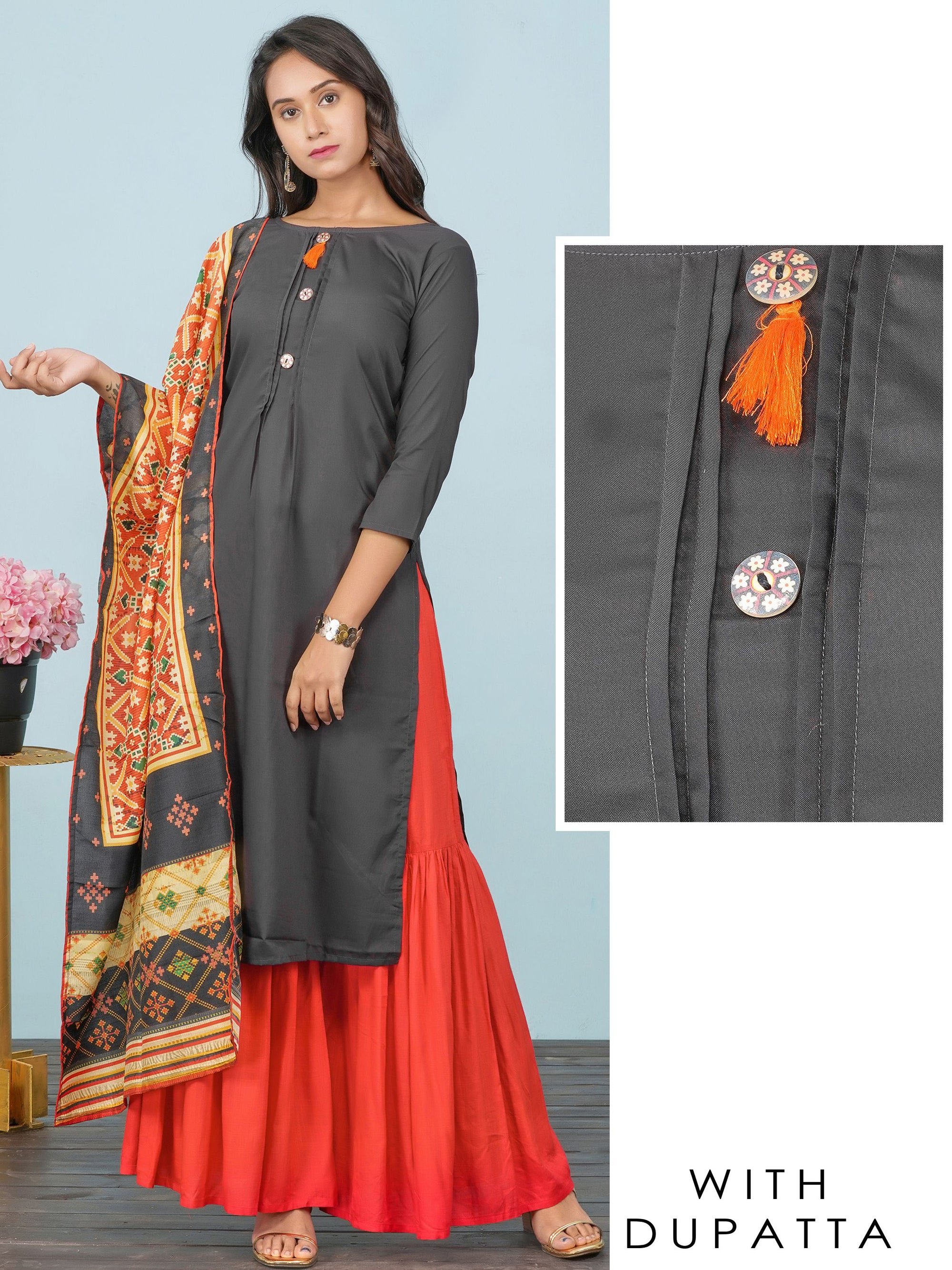 Floral Buttons Enhanced Kurti & Patola Printed Dupatta Set