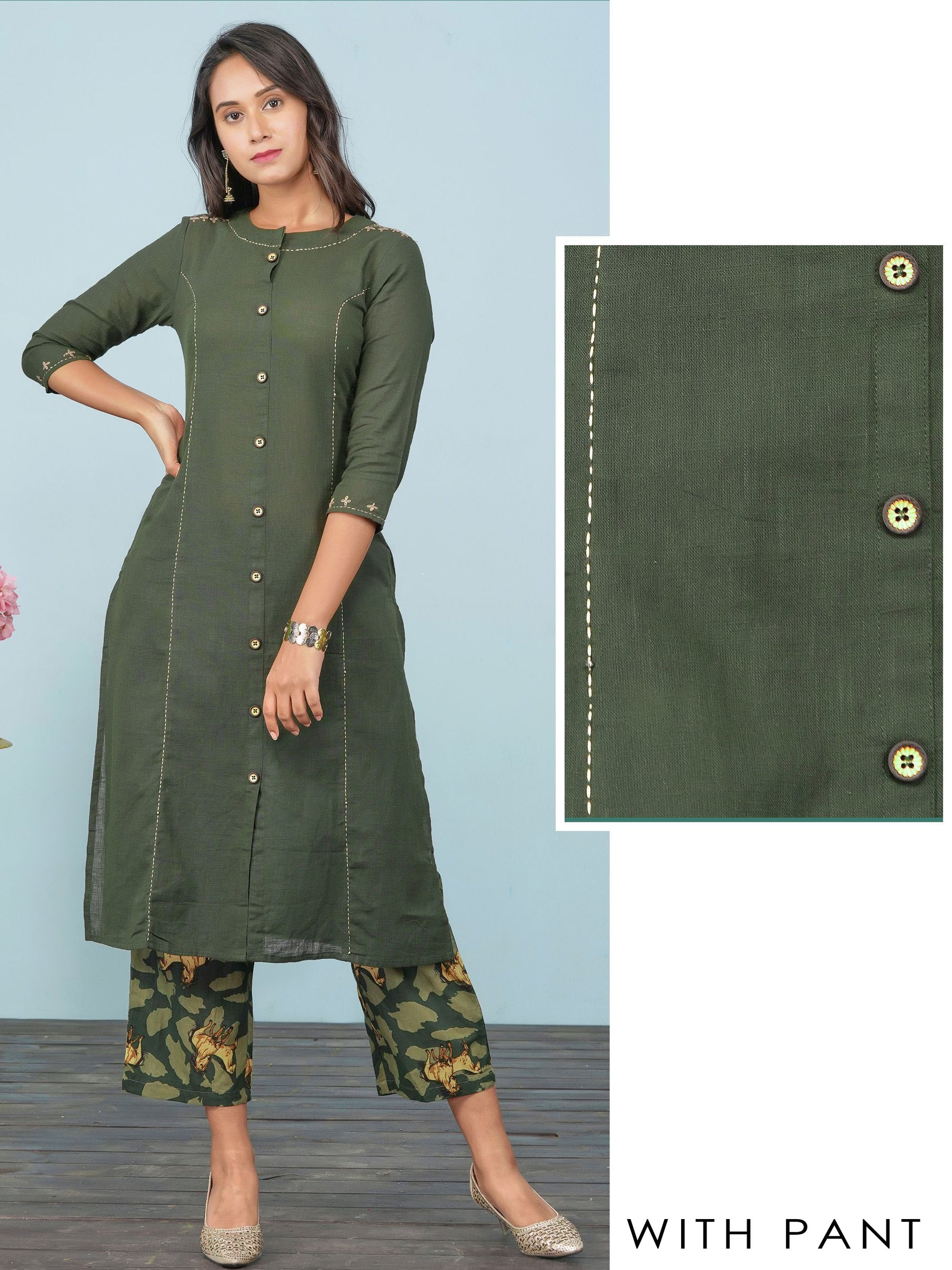 Minimal Embroidered Solid Princess Cut Kurti & Horse Printed Pant Set – Bottle Green