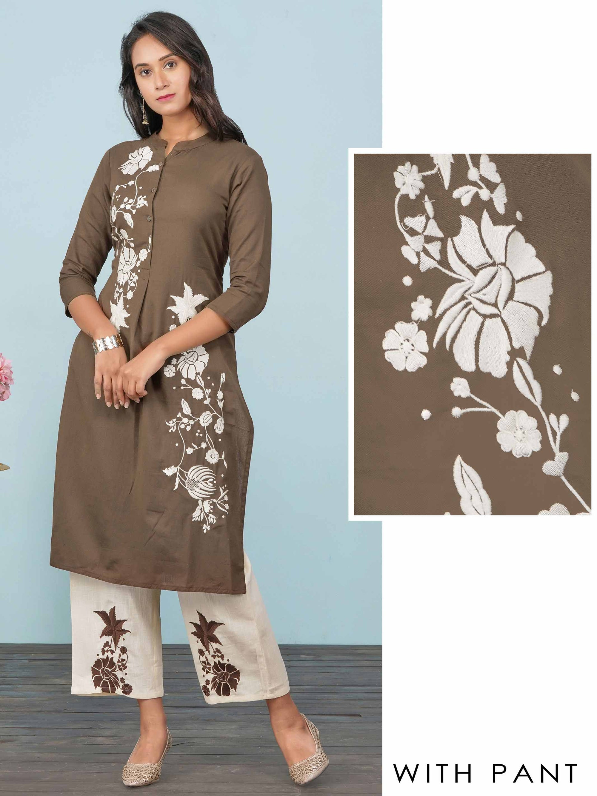 Floral Embroidered & Metal Buttoned Kurti with Pant Set – Brown