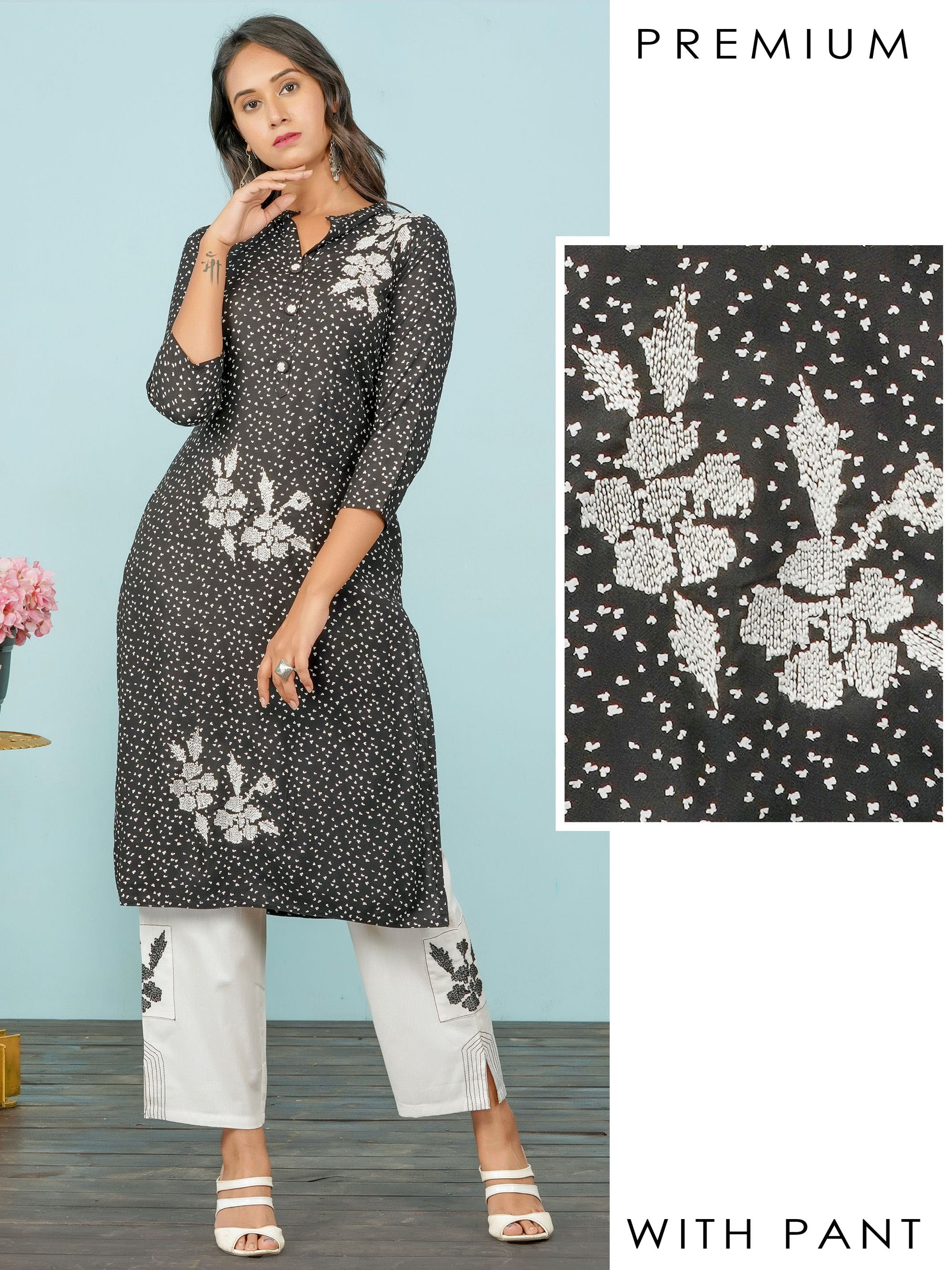 Running Stitch Embroidered & Abstract Printed Kurti with Pant Set – Black