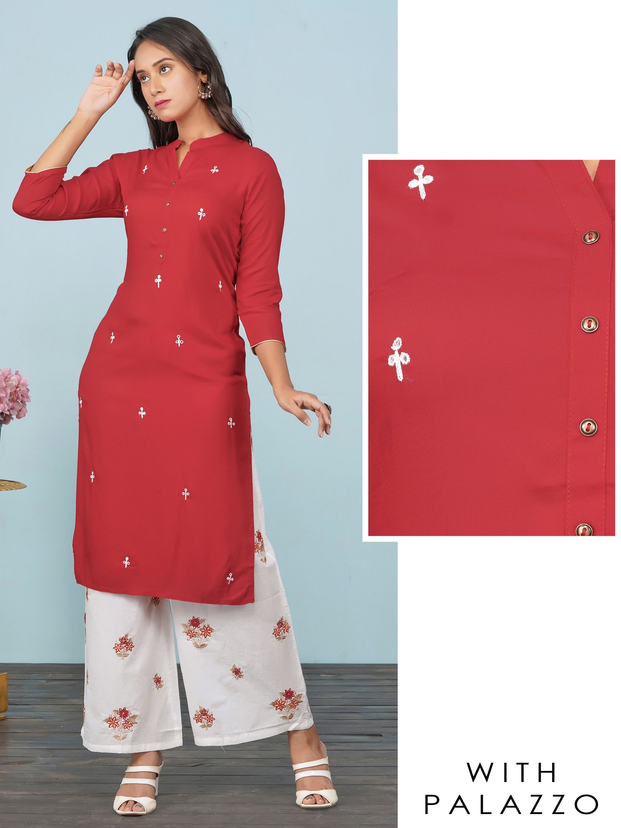 Minimal Foil Mirror worked Kurti & Floral Embroidered Palazzo Set –  Scarlet Red