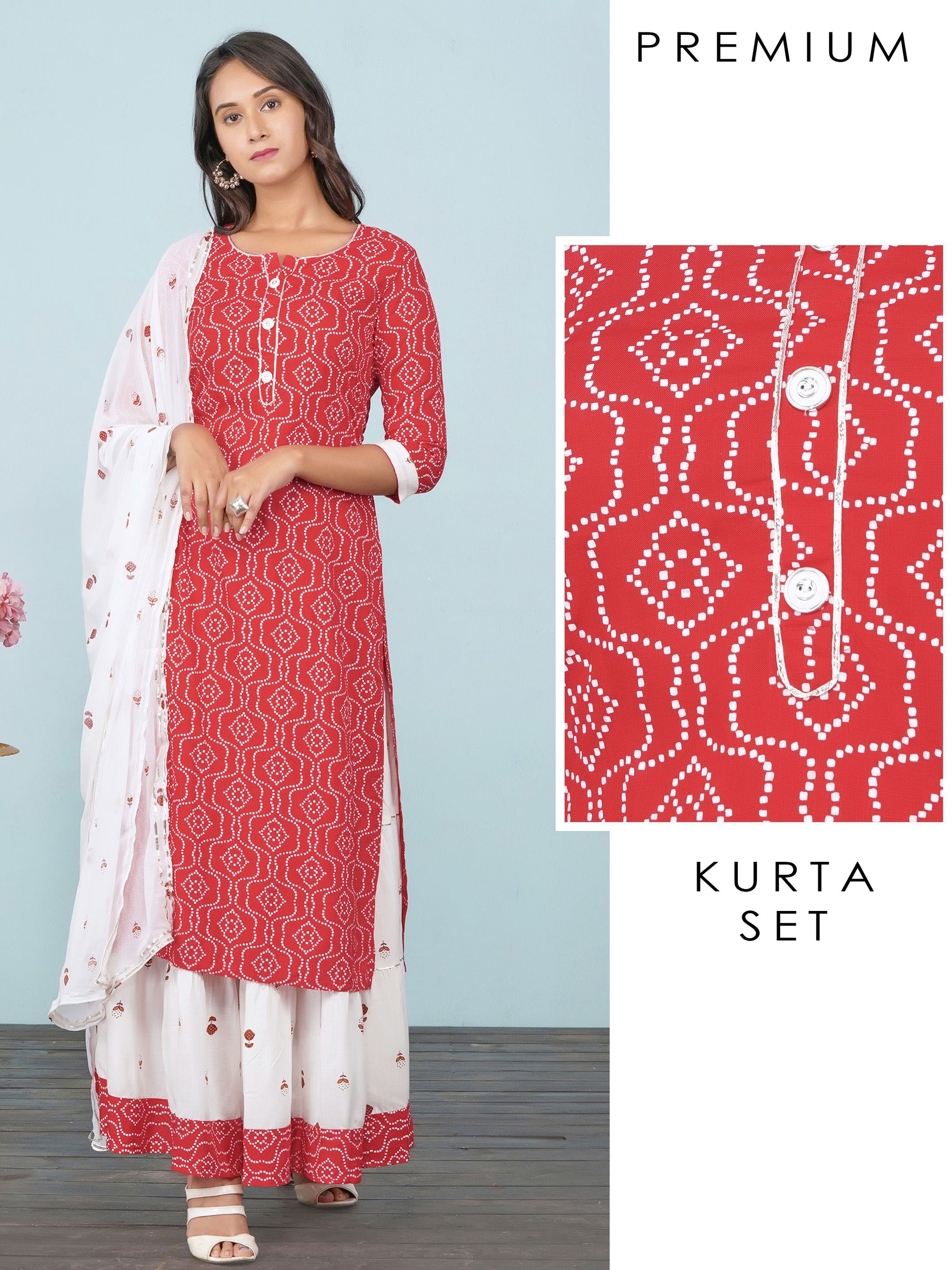 Abstract Printed Kurti, Tiered Skirt & Floral Printed Dupatta Set