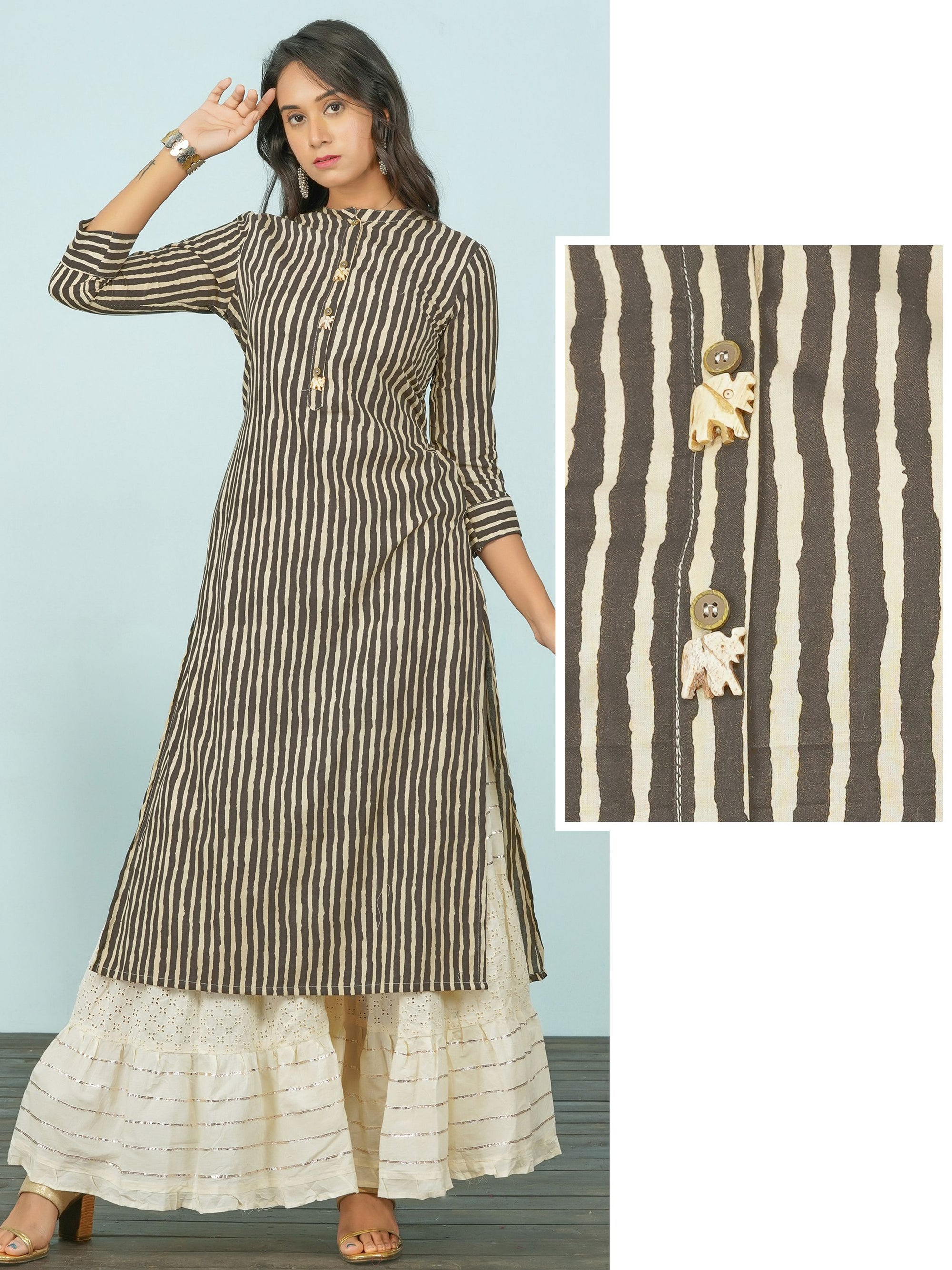 Vertical Striped & Elephant Brooch Enhanced Kurti
