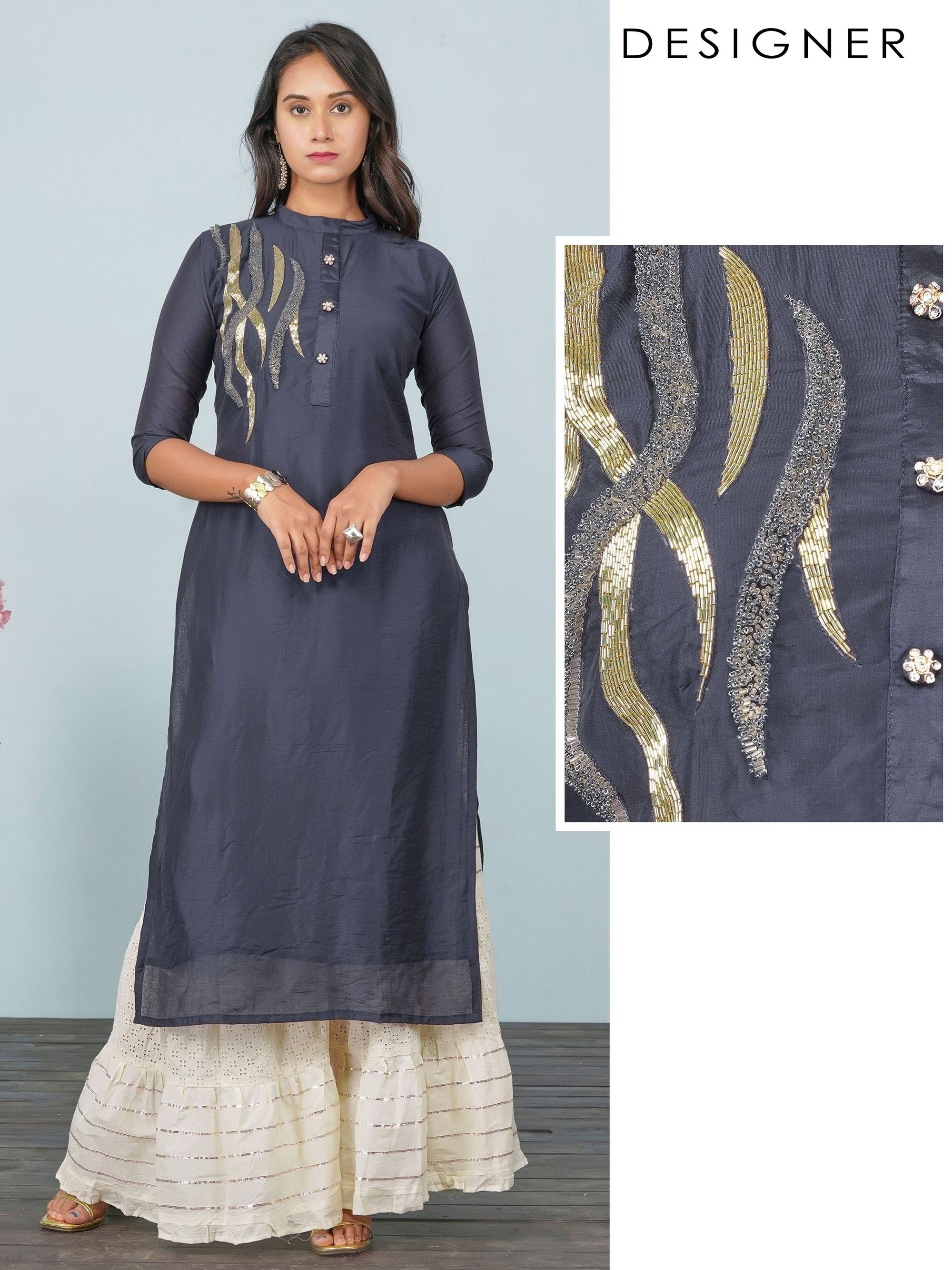 Intense Cutdana & Bead work Detailed Kurti – Navy Blue