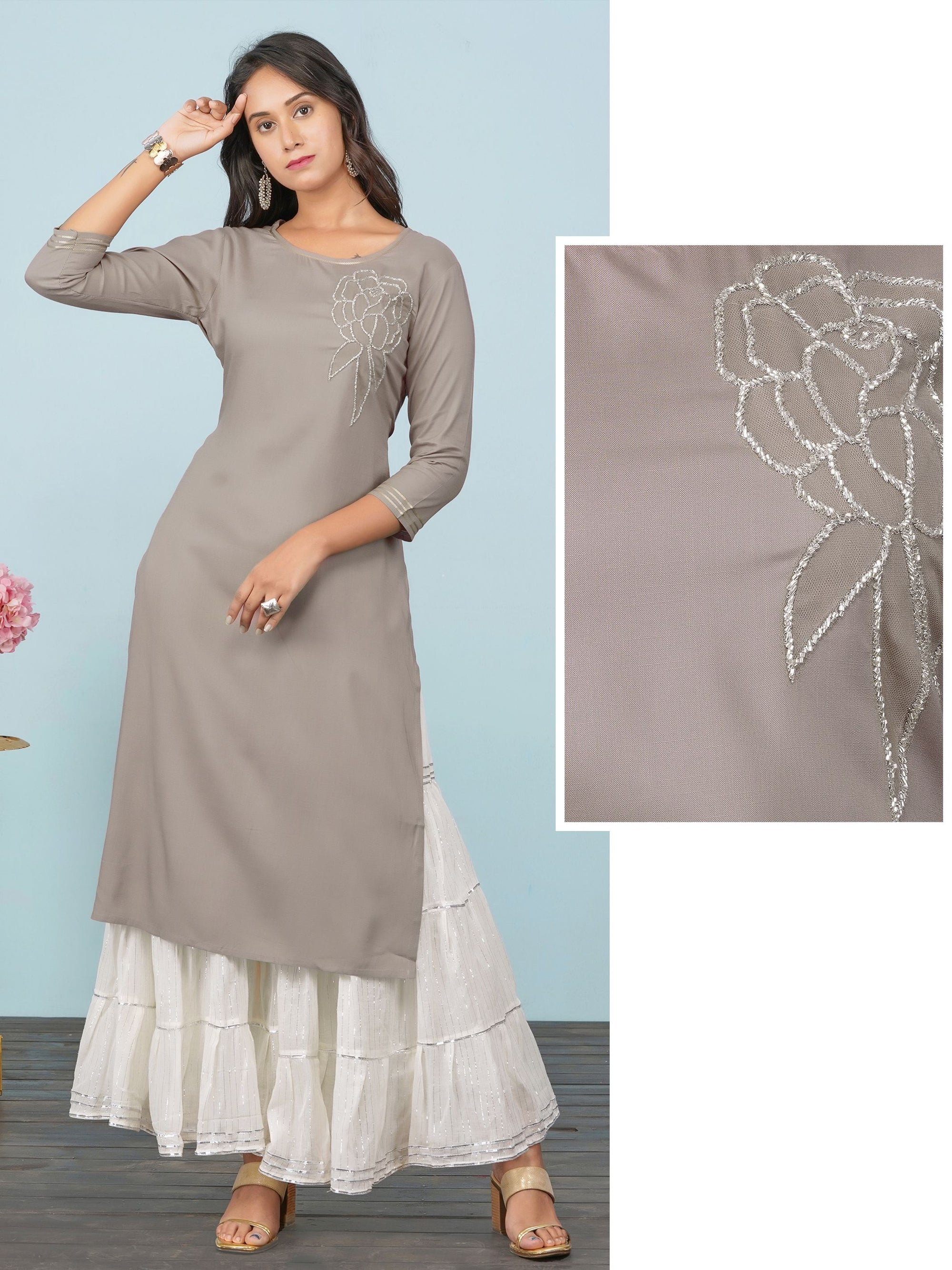 Cutdana Embellished Cotton Kurti – Fawn Brown
