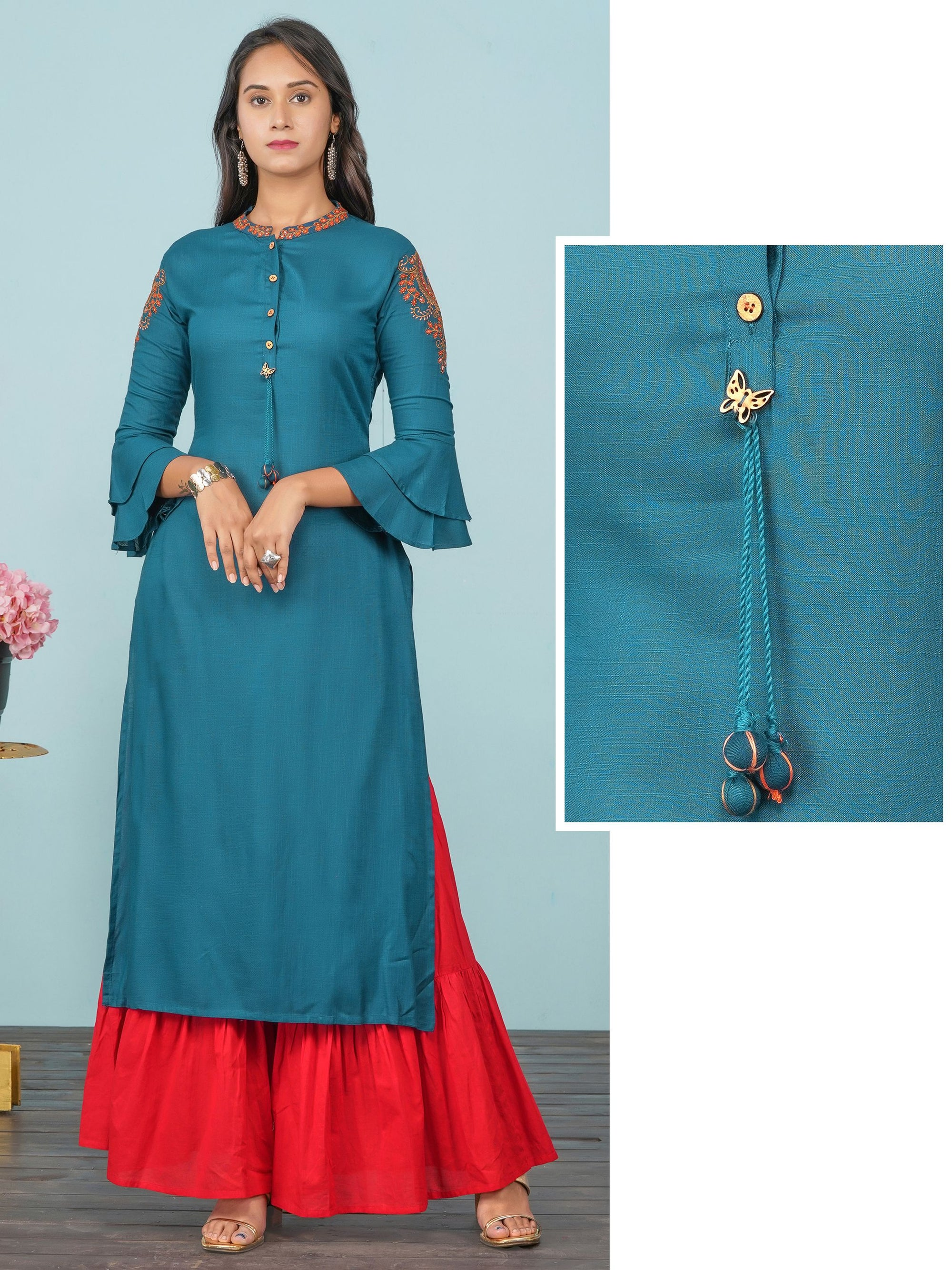 Ethnic Mango Embroidered Solid Kurti