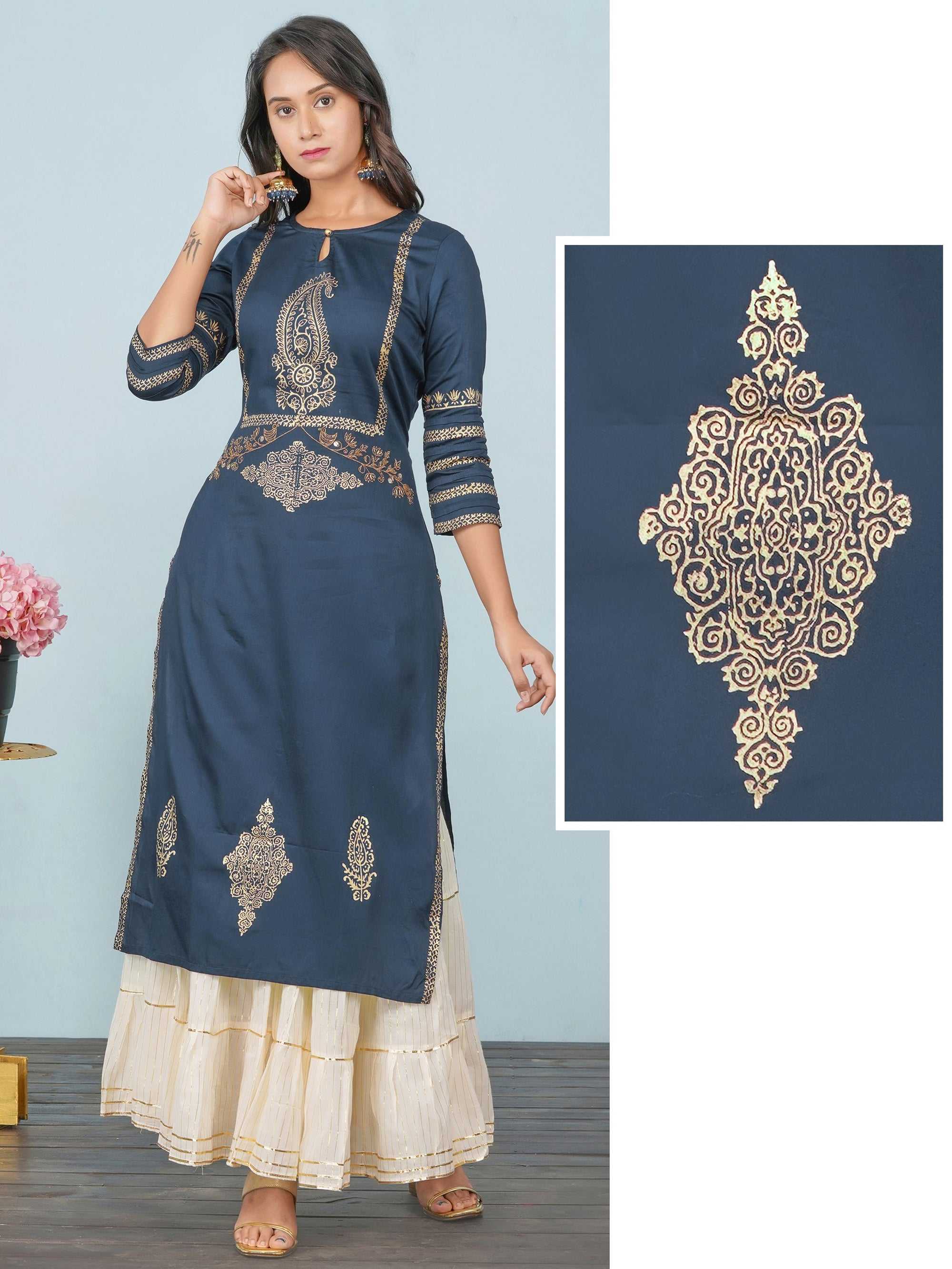 Khari Printed & Black Cutdana Worked Kurta