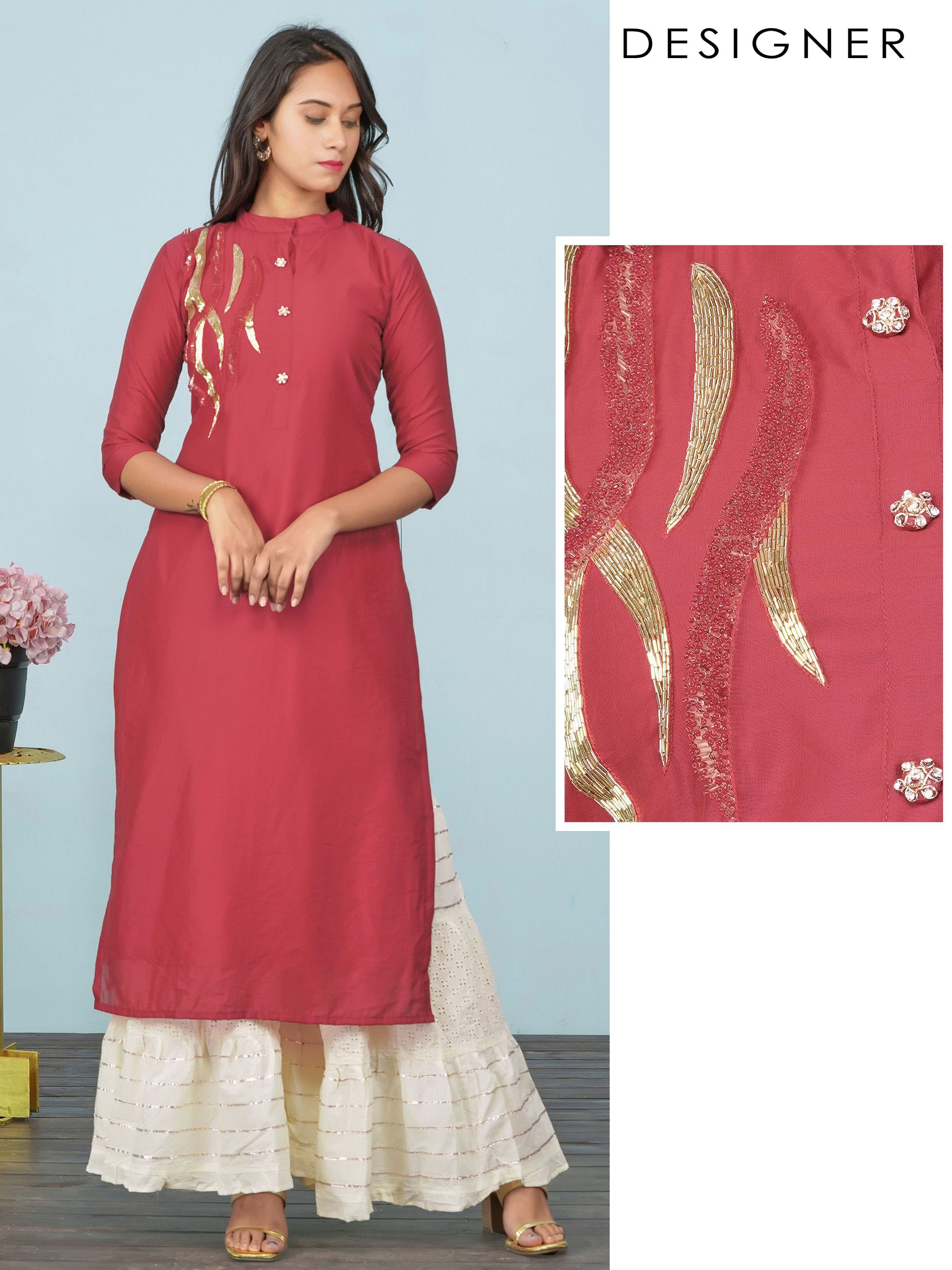 Intense Cutdana & Bead work Detailed Kurti – Ruby Red