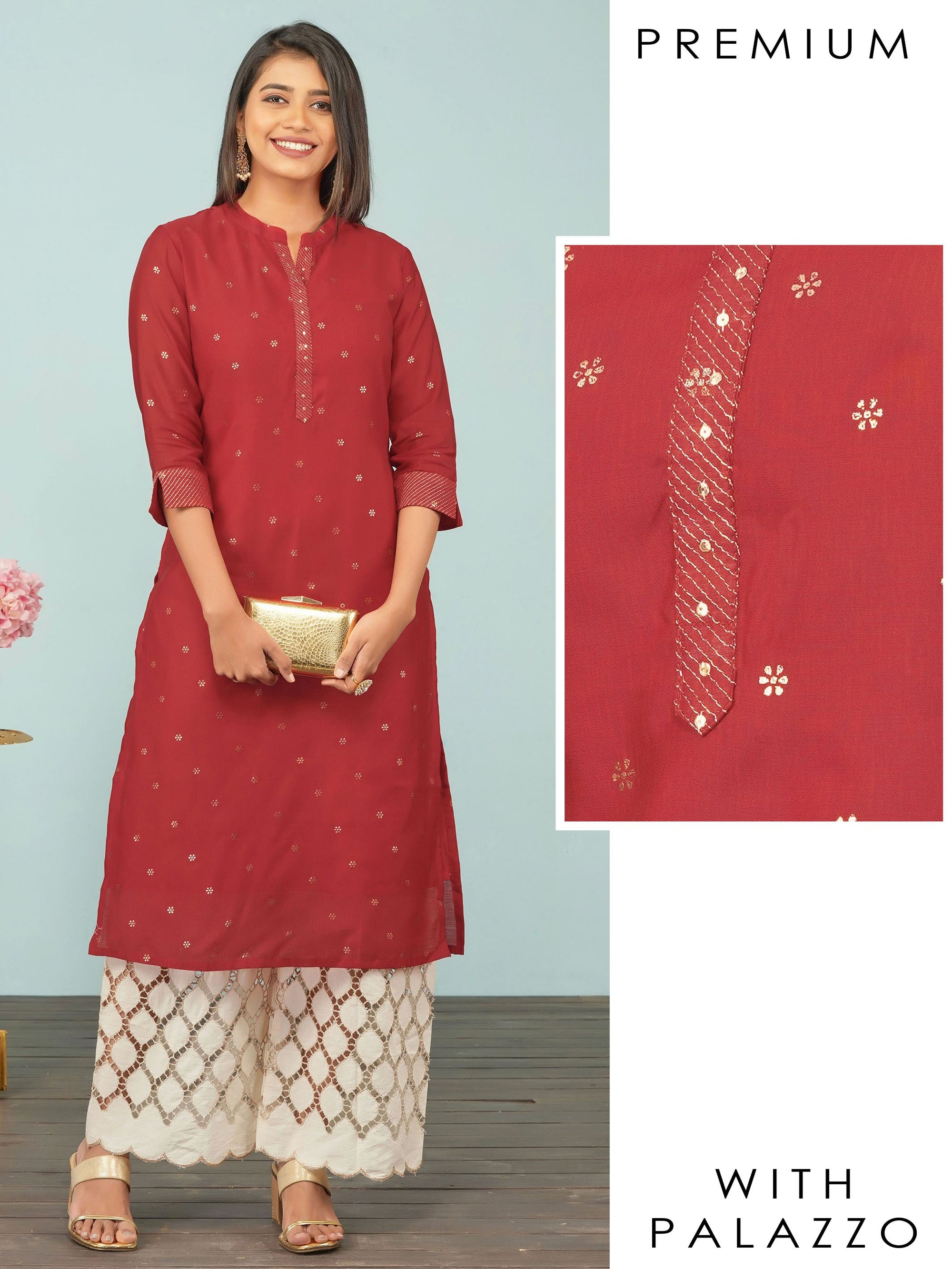 Sequins Embellished Self Printed Kurti & Cutwork Palazzo Set – Ruby Red