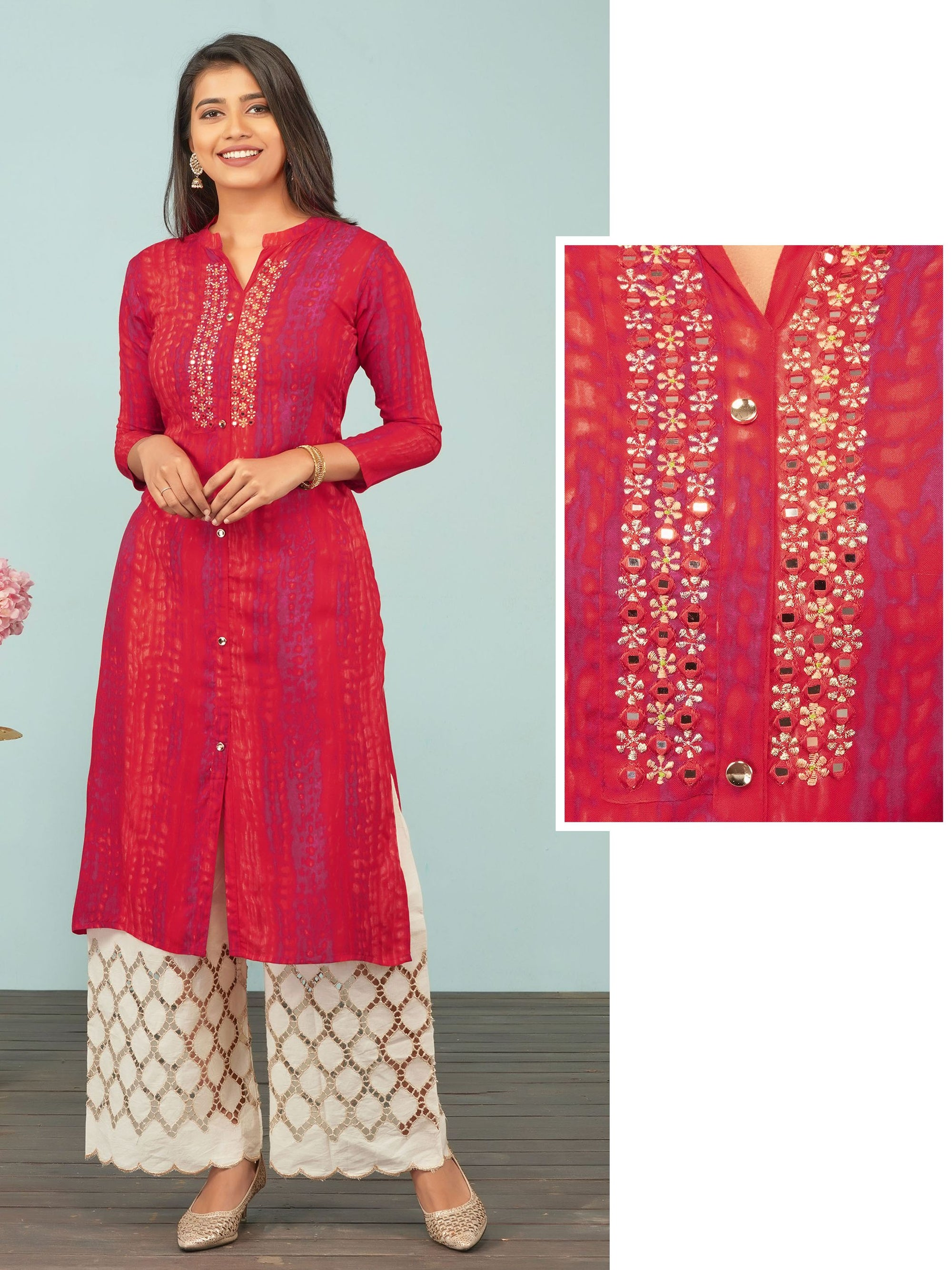 Zari Embroidered & Abstract Lehariya Printed Rayon Kurti– Cherry Red