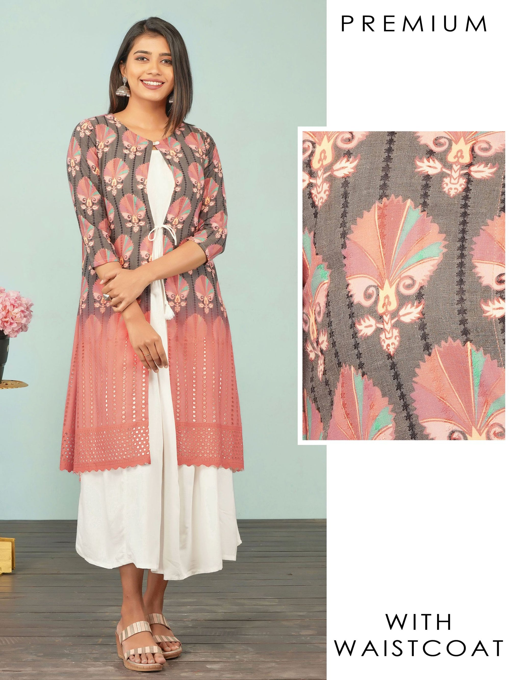 Solid Gathered Maxi with Hakoba Embroidered Detachable Jacket