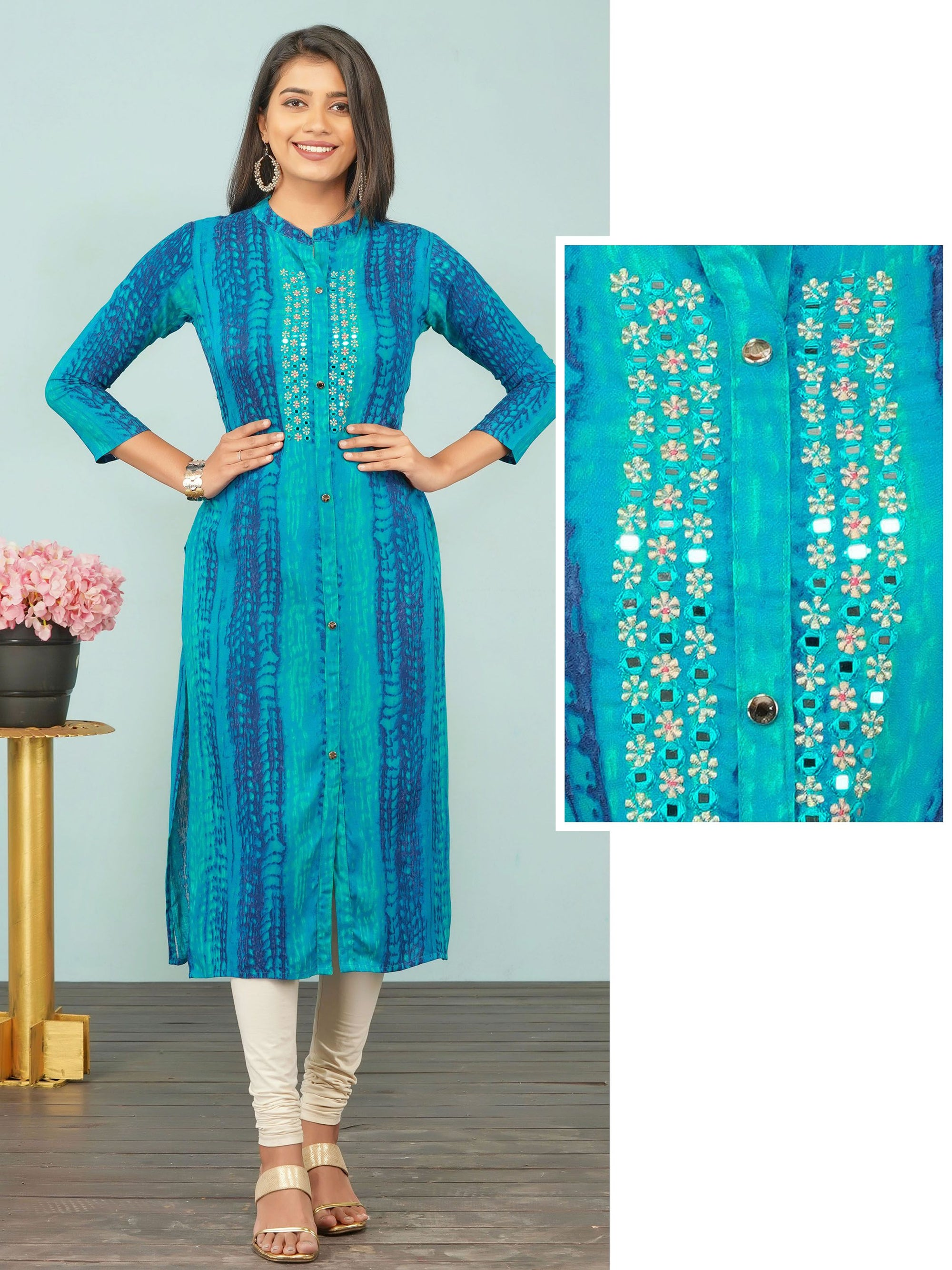Zari Embroidered & Abstract Lehariya Printed Rayon Kurti – Peacock Blue