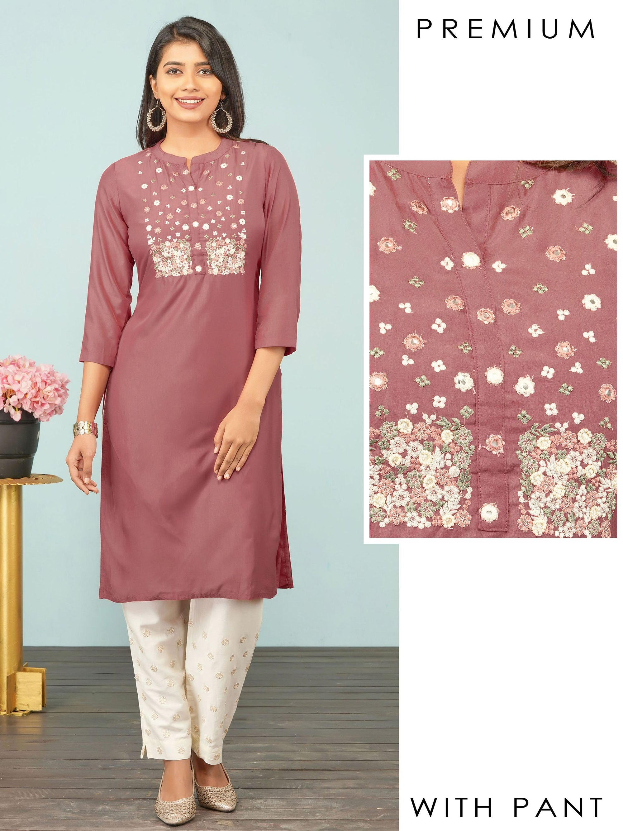 Floral Embroidered & Bead worked Premium Kurti & Self Embroidered Pant Set– Rusty Peach