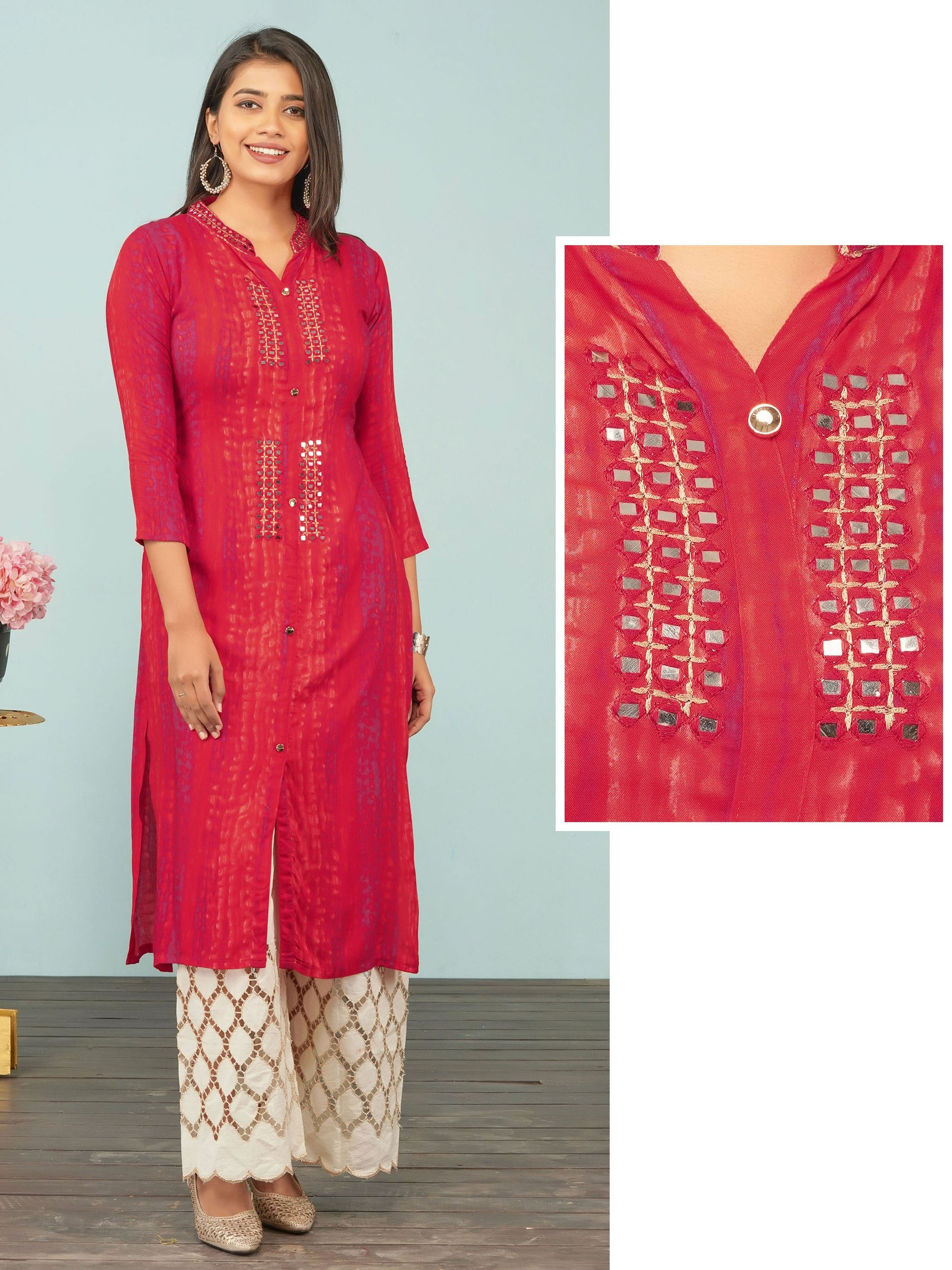 Vibrant Lehariya Printed & Mirror worked Rayon Kurti – Red
