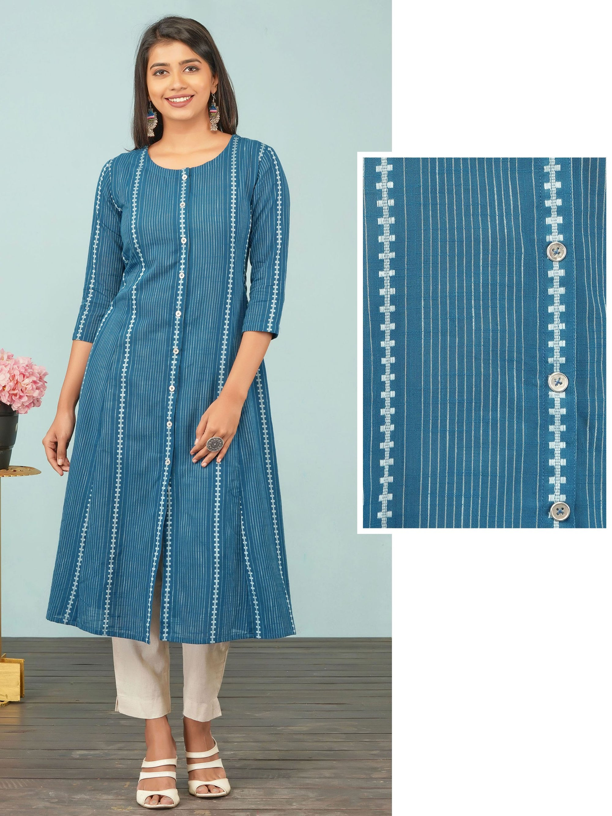 Vertical Striped A-line Cotton Kurti