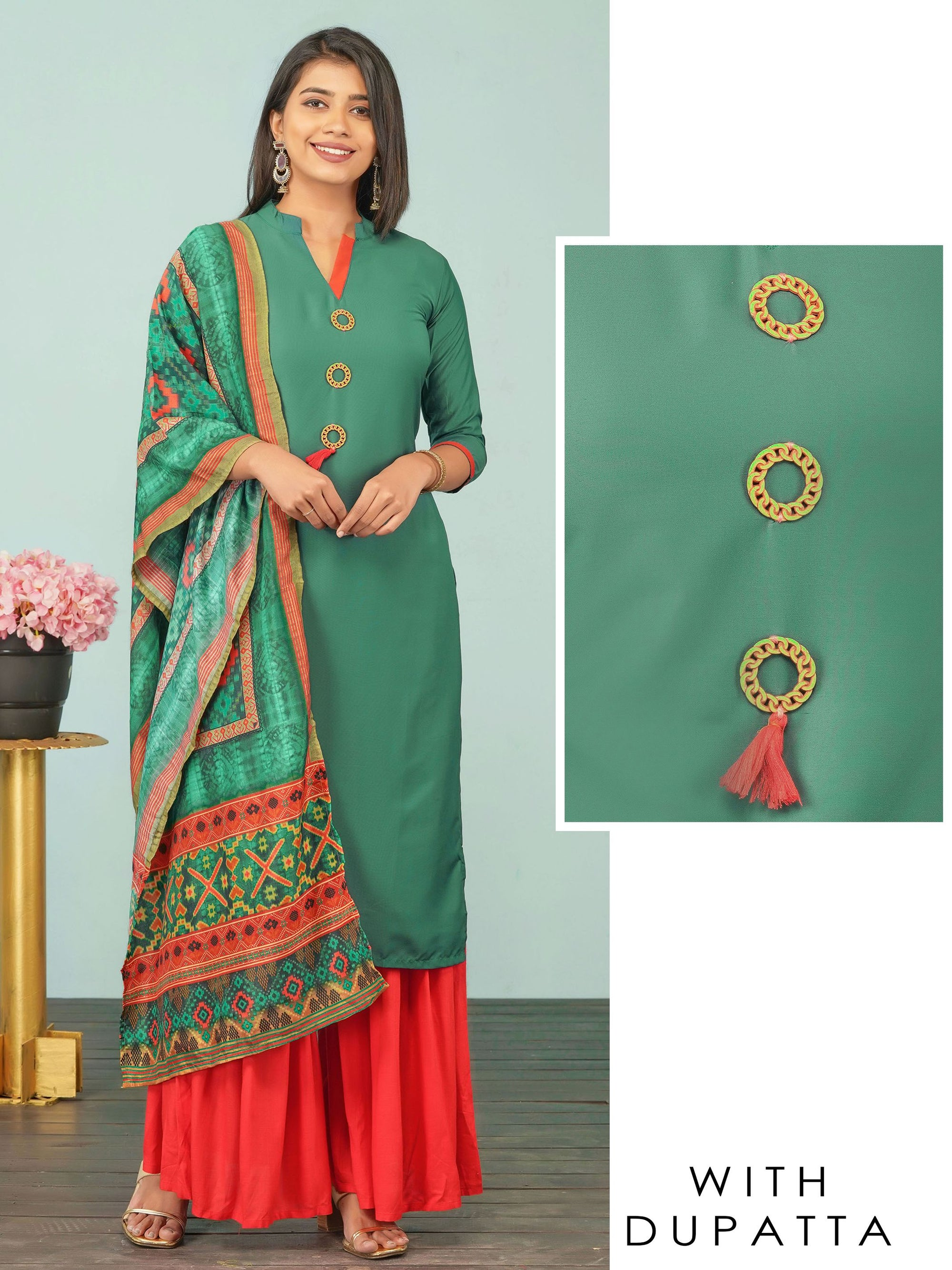 Wooden Brooch Enhanced Kurti & Contrast Printed Dupatta Set