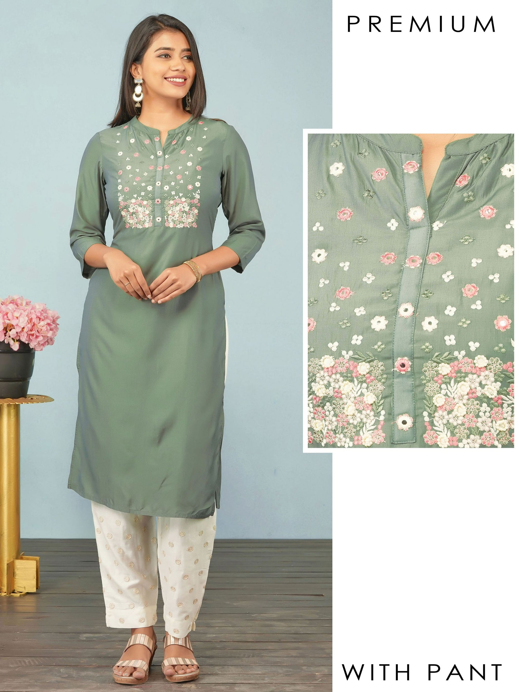 Floral Embroidered & Bead worked Premium Kurti & Self Embroidered Pant Set– Submarine Green