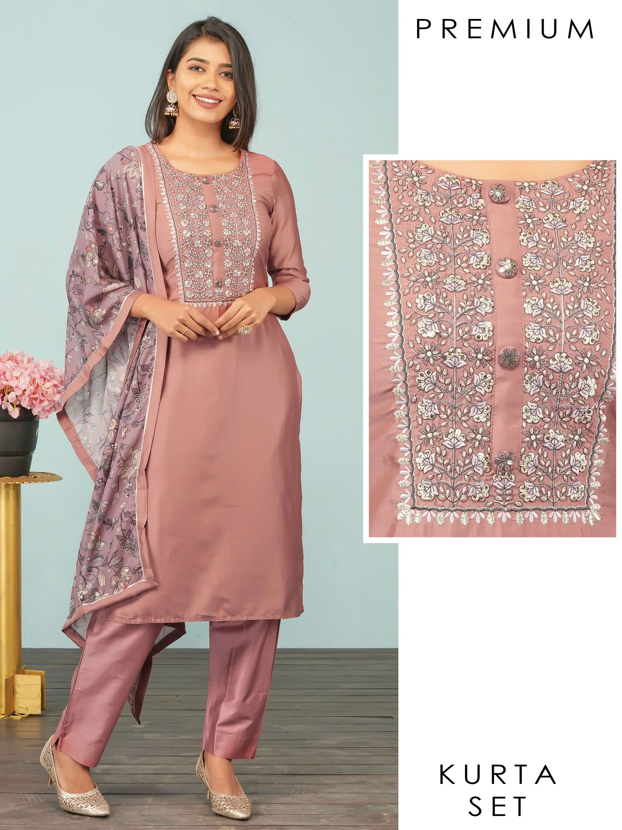 Monotone Floral Embroidered Designer Kurti, Solid Pant & Floral Dupatta Set– Metallic Peach