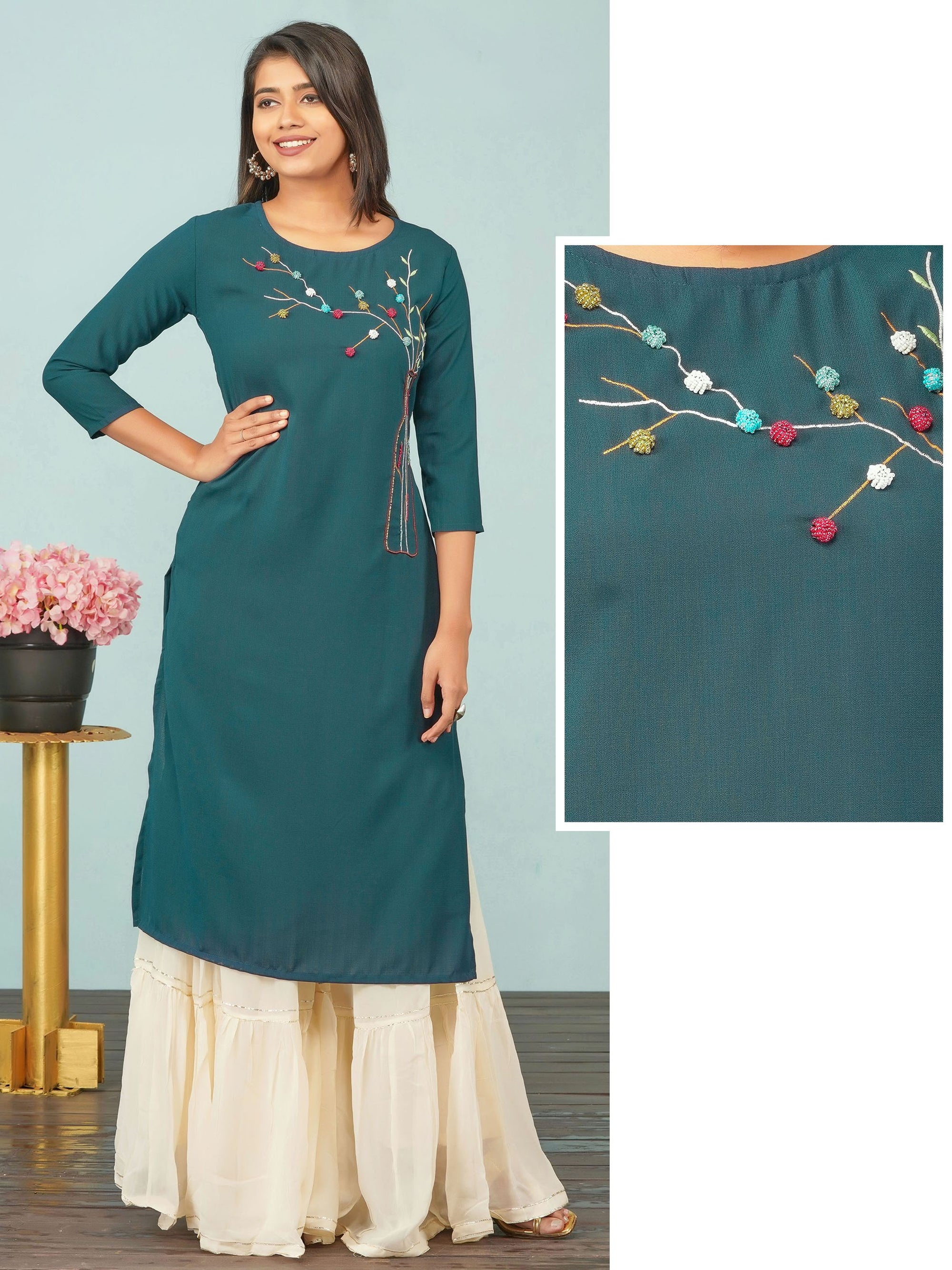 Embossed Bead work & Bottle Embroidered Kurti