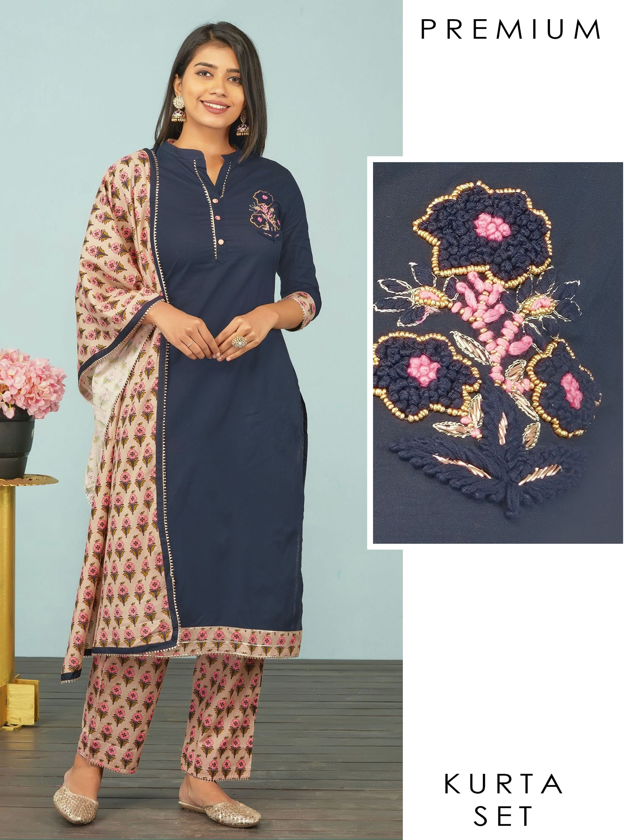 French Knot Embroidered Zardosi Embellished Kurti, Floral Pant & Dupatta Set - Navy Blue