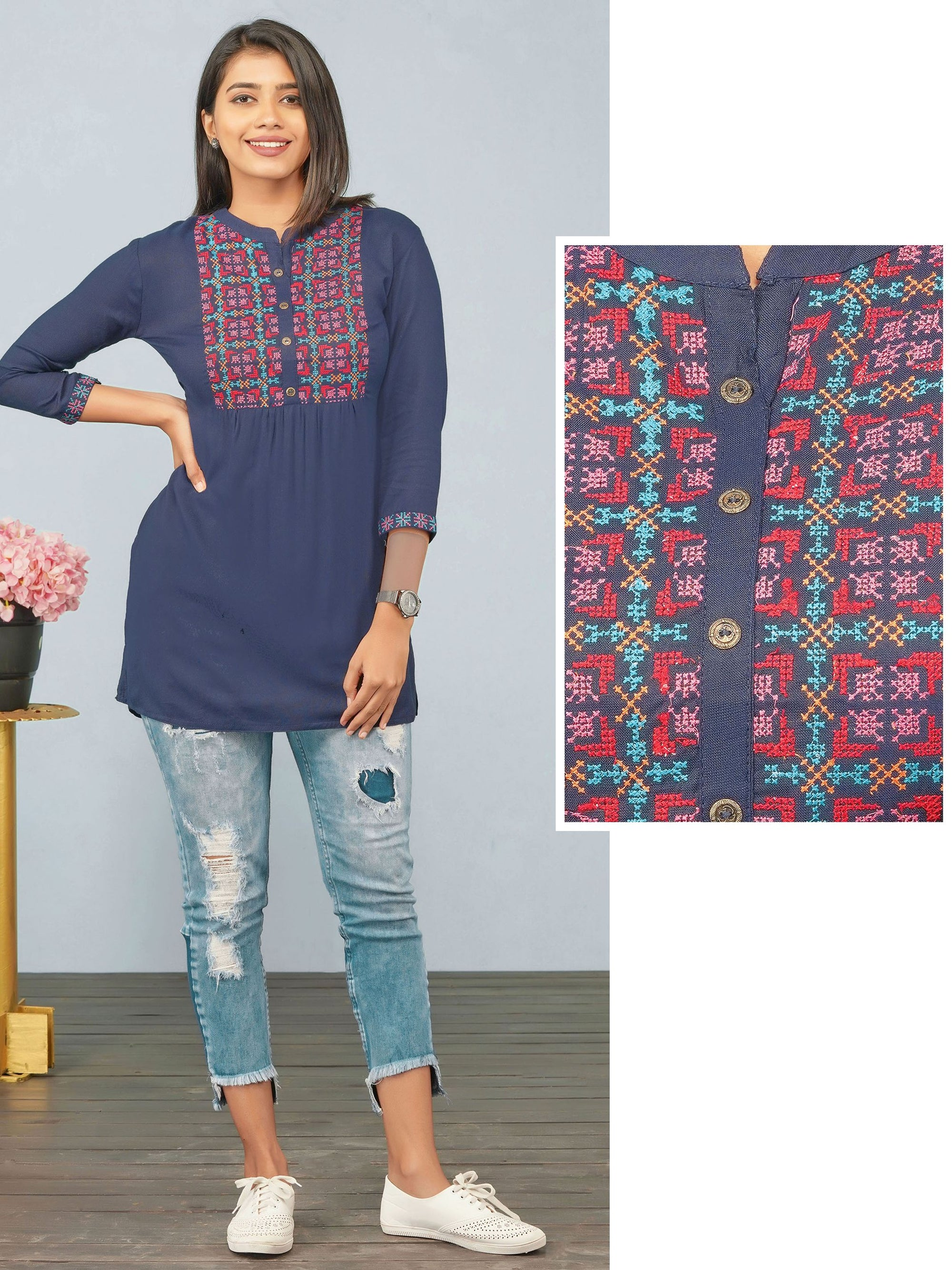 Cross Stitch Embroidered Rayon Tunic