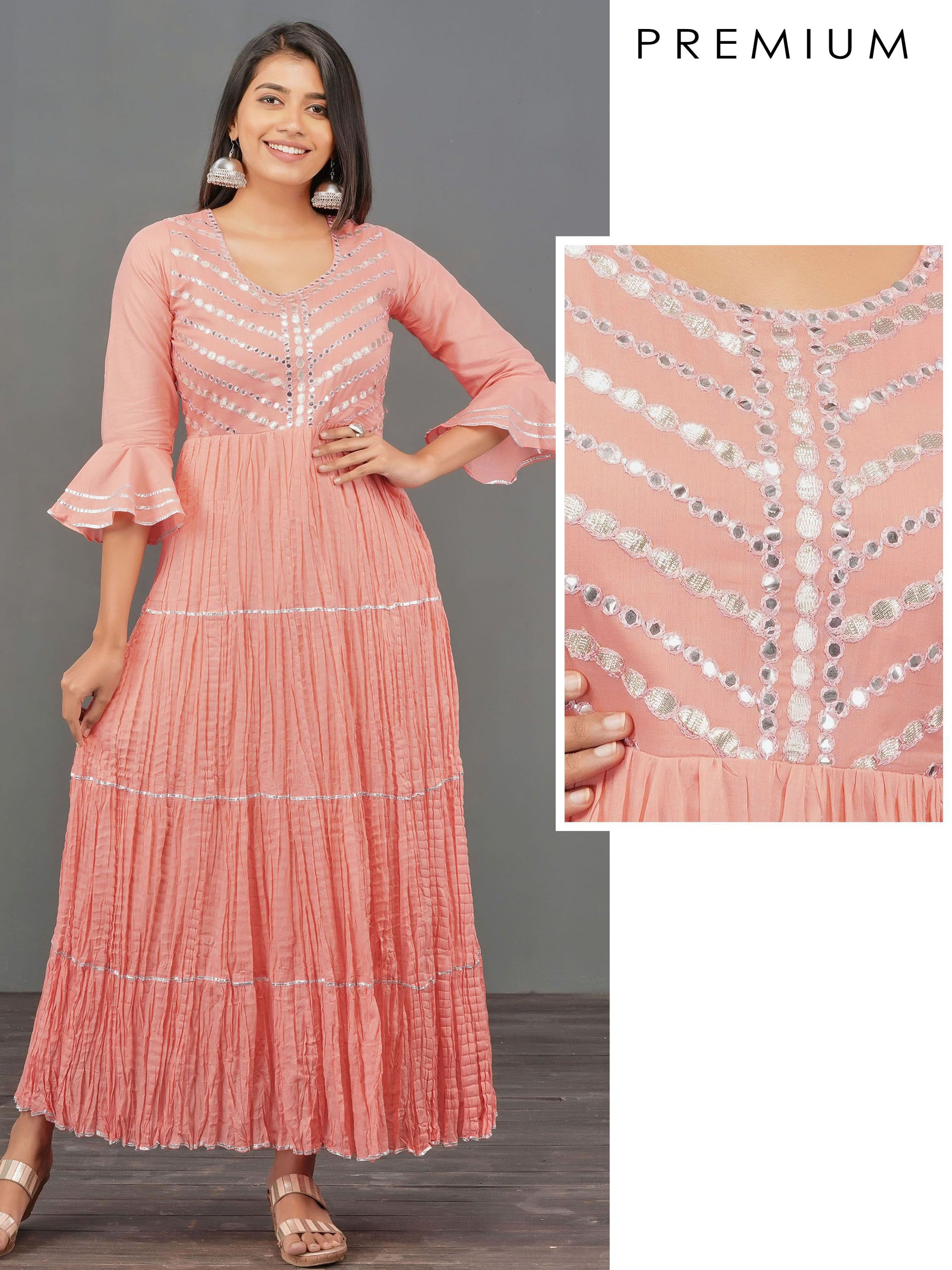 Foil Mirror worked & Gota Embellished Maxi – Peach