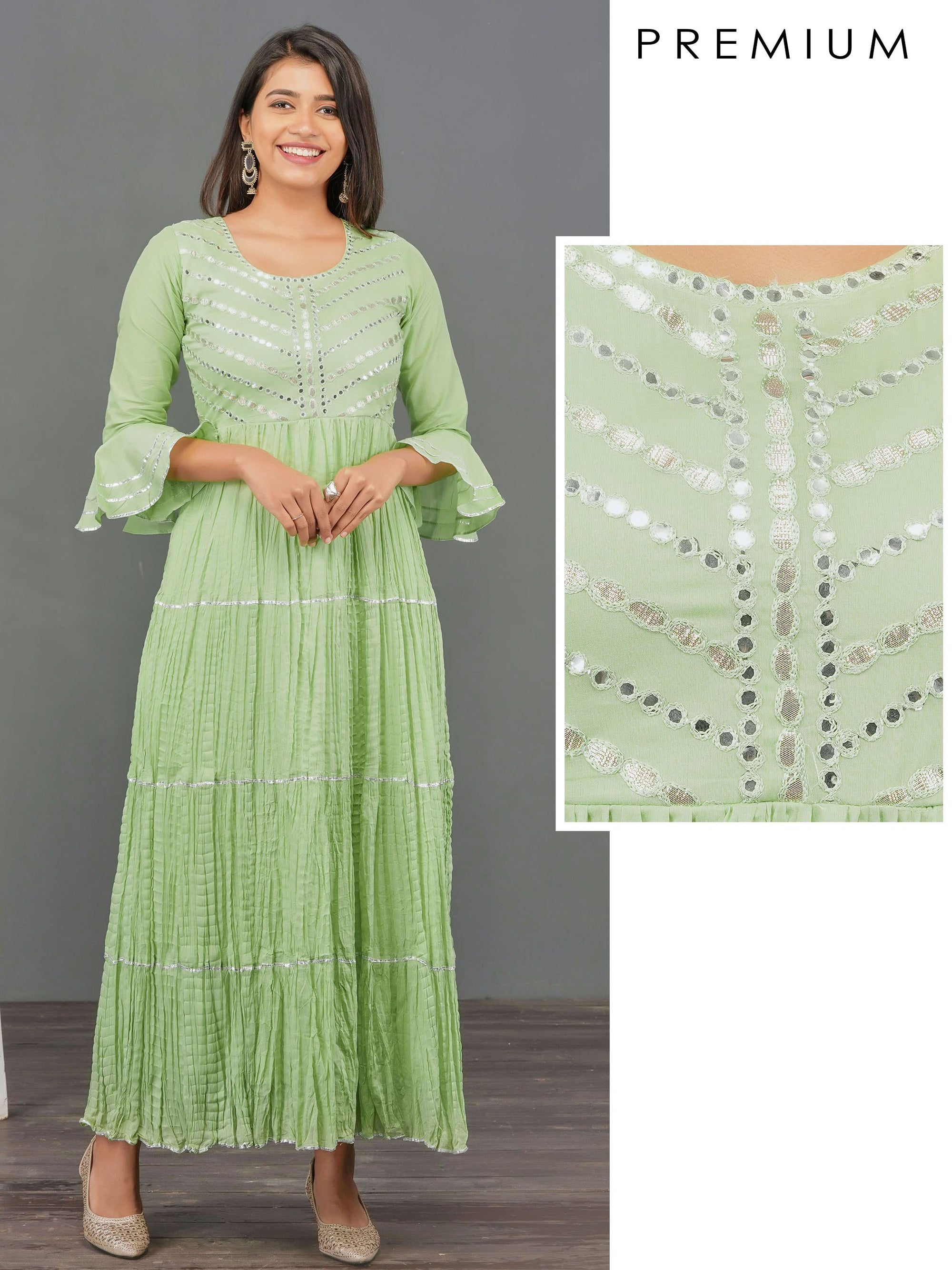 Foil Mirror worked & Gota Embellished Maxi – Pista Green
