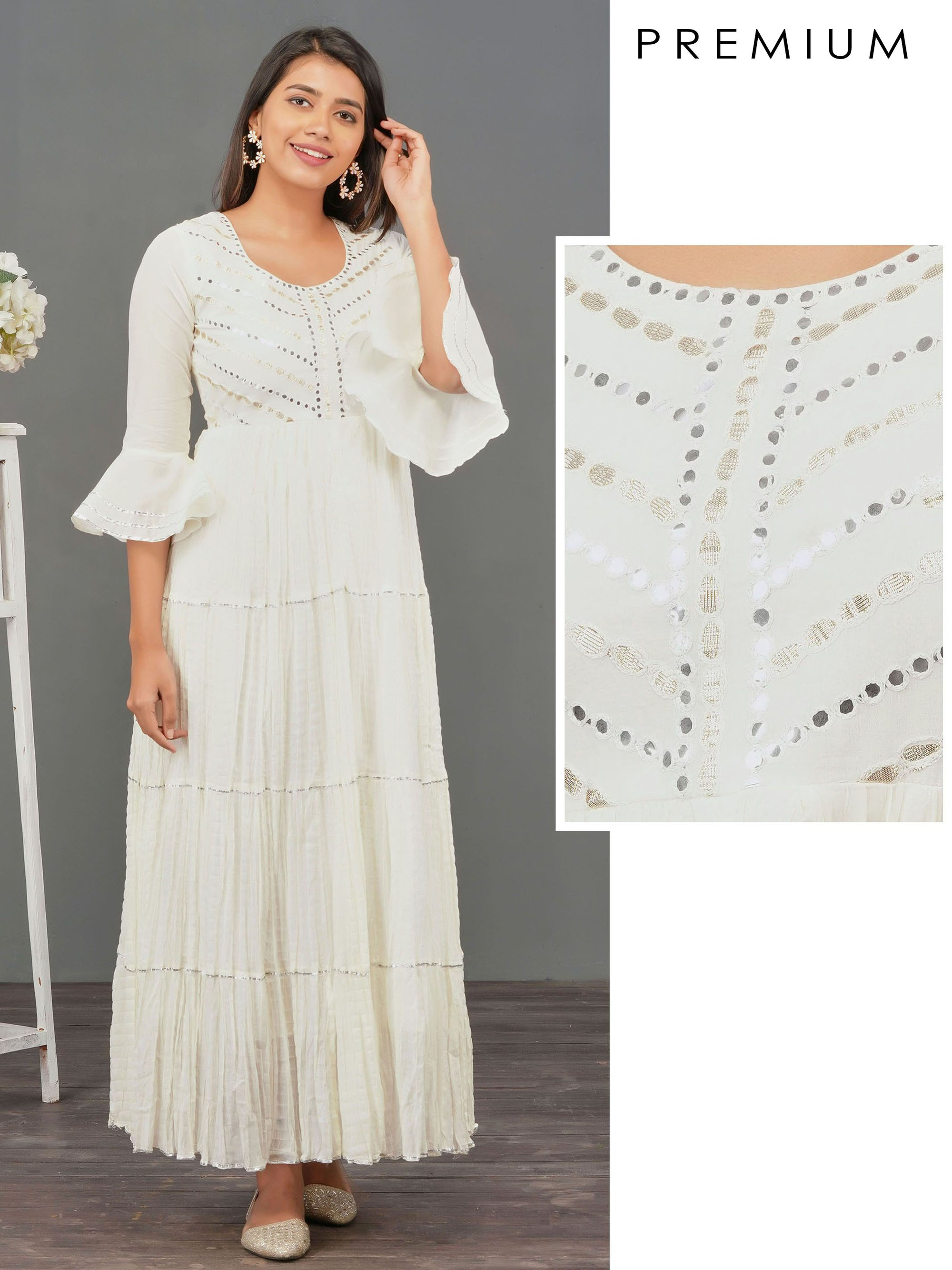 Foil Mirror worked & Gota Embellished Maxi – Off-White