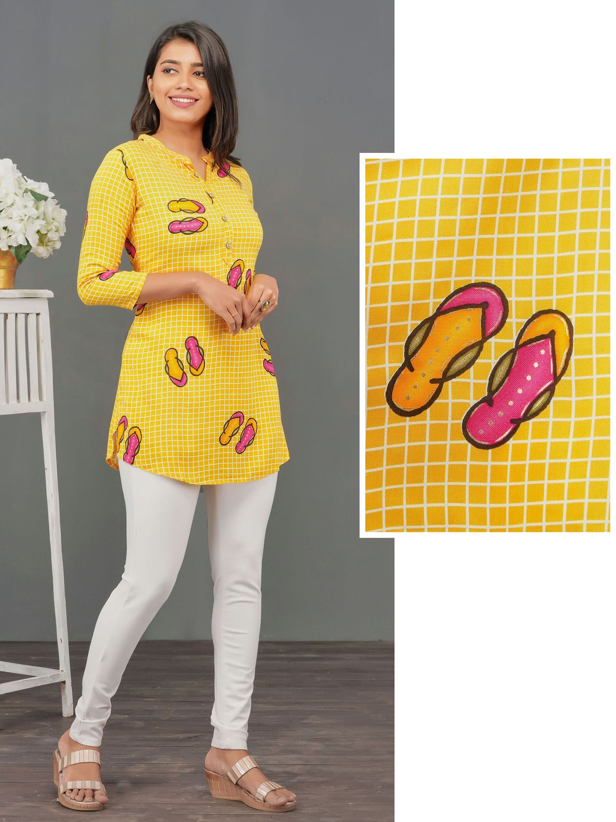 Quirky Flip-Flop Printed Rayon Tunic - Yellow