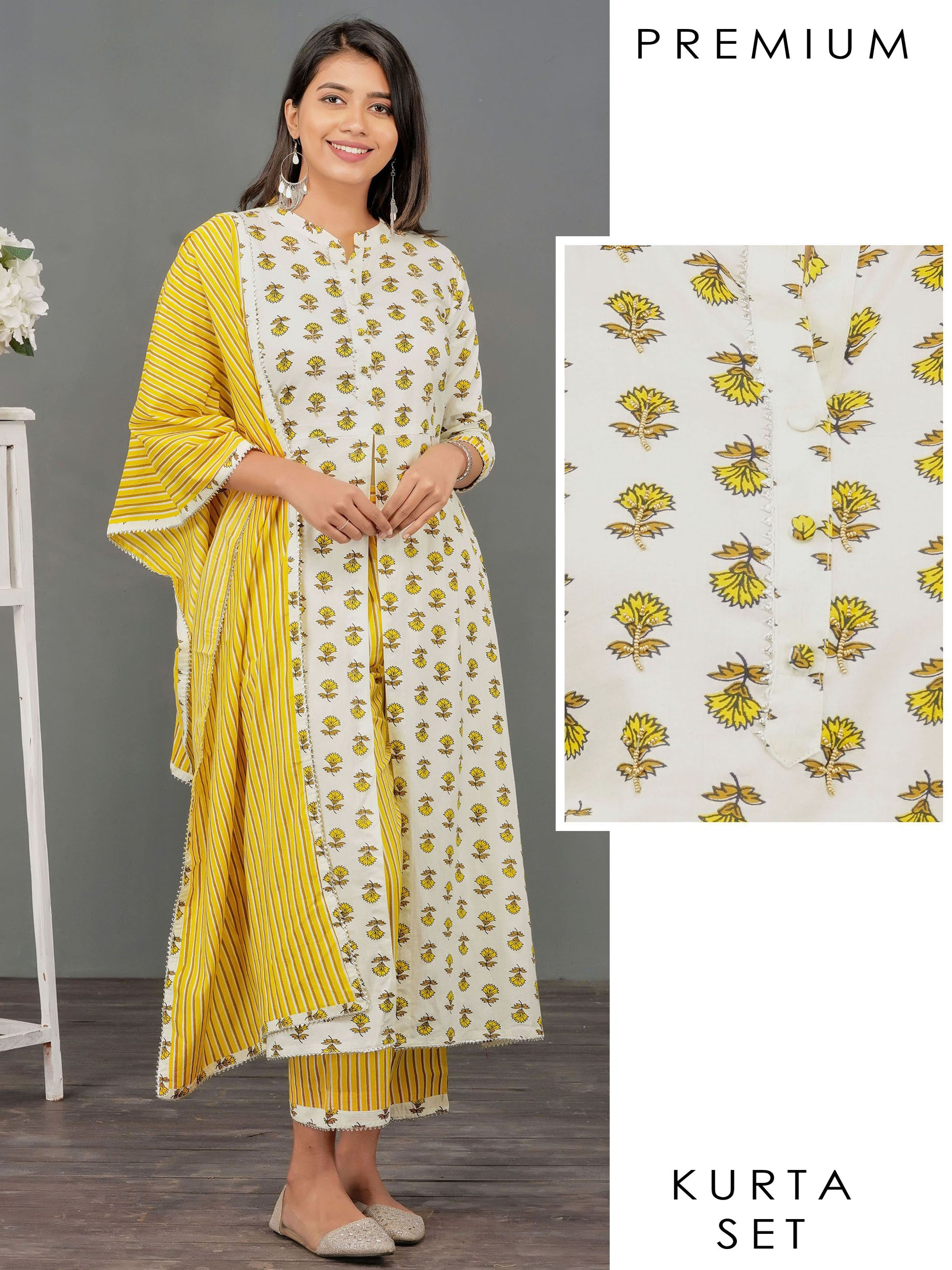 Bead work & Floral Printed Kurti, Vertical Striped Pant & Dupatta Set – Off-White