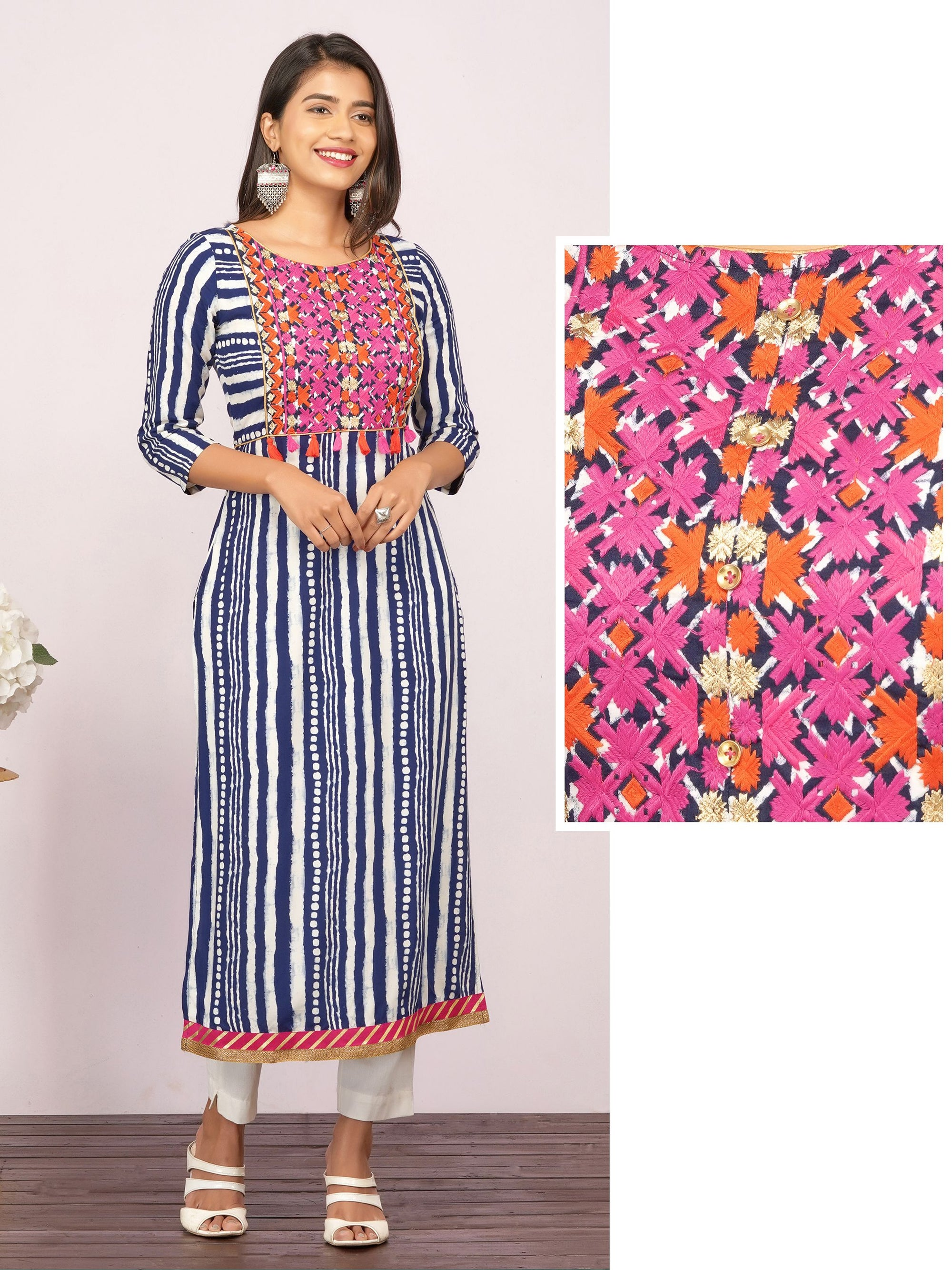 Vibrant Floral Embroidered & Vertical Striped Tassel Kurti – Indigo