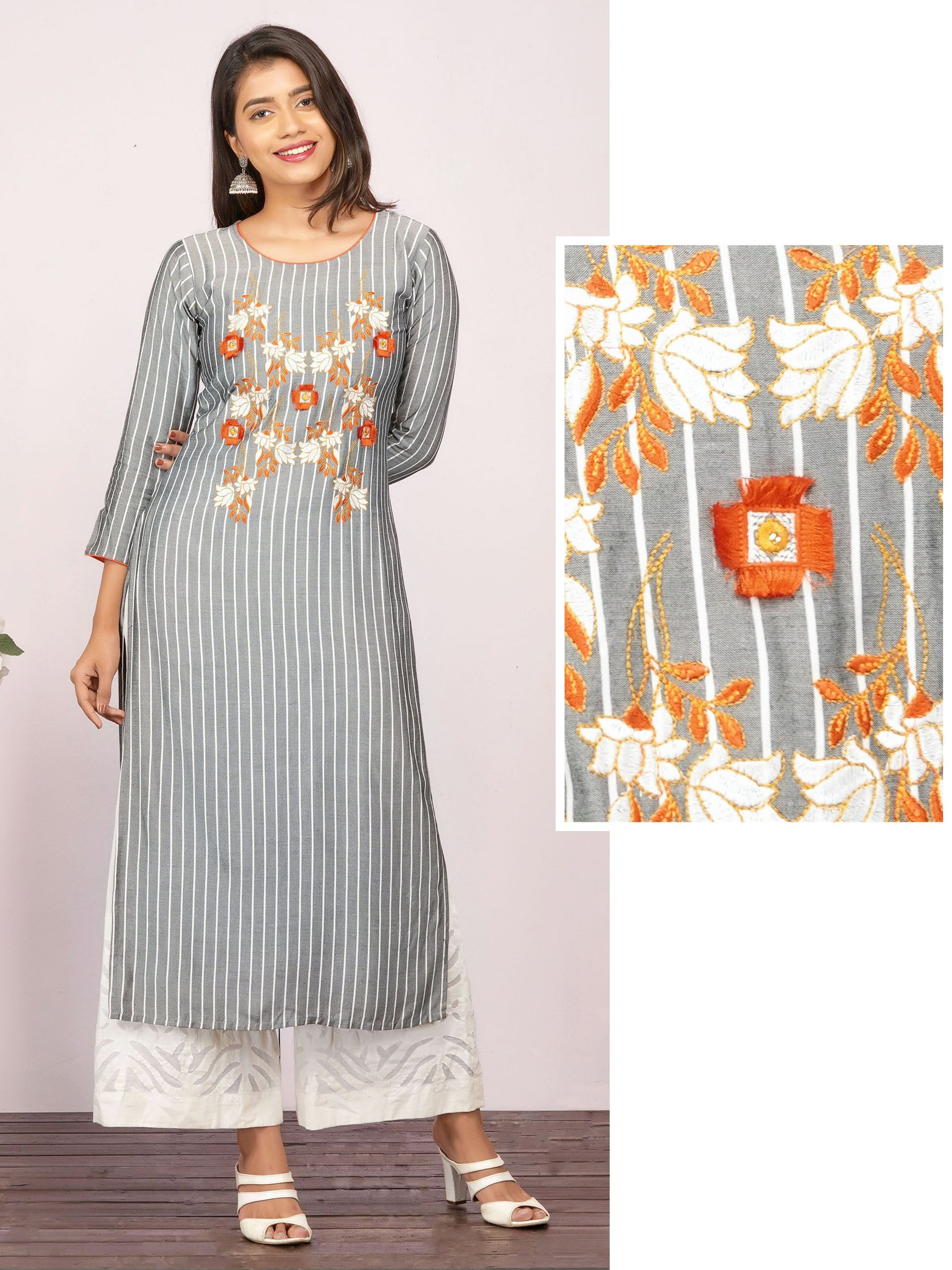 Floral Tassel Embroidered & Vertical Striped Kurti – Grey