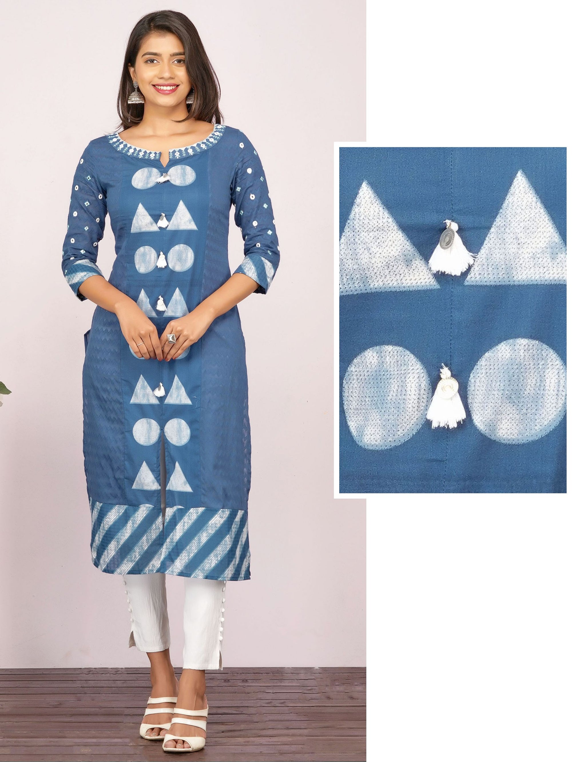 Geometric Printed & Foil Mirror worked Kurti