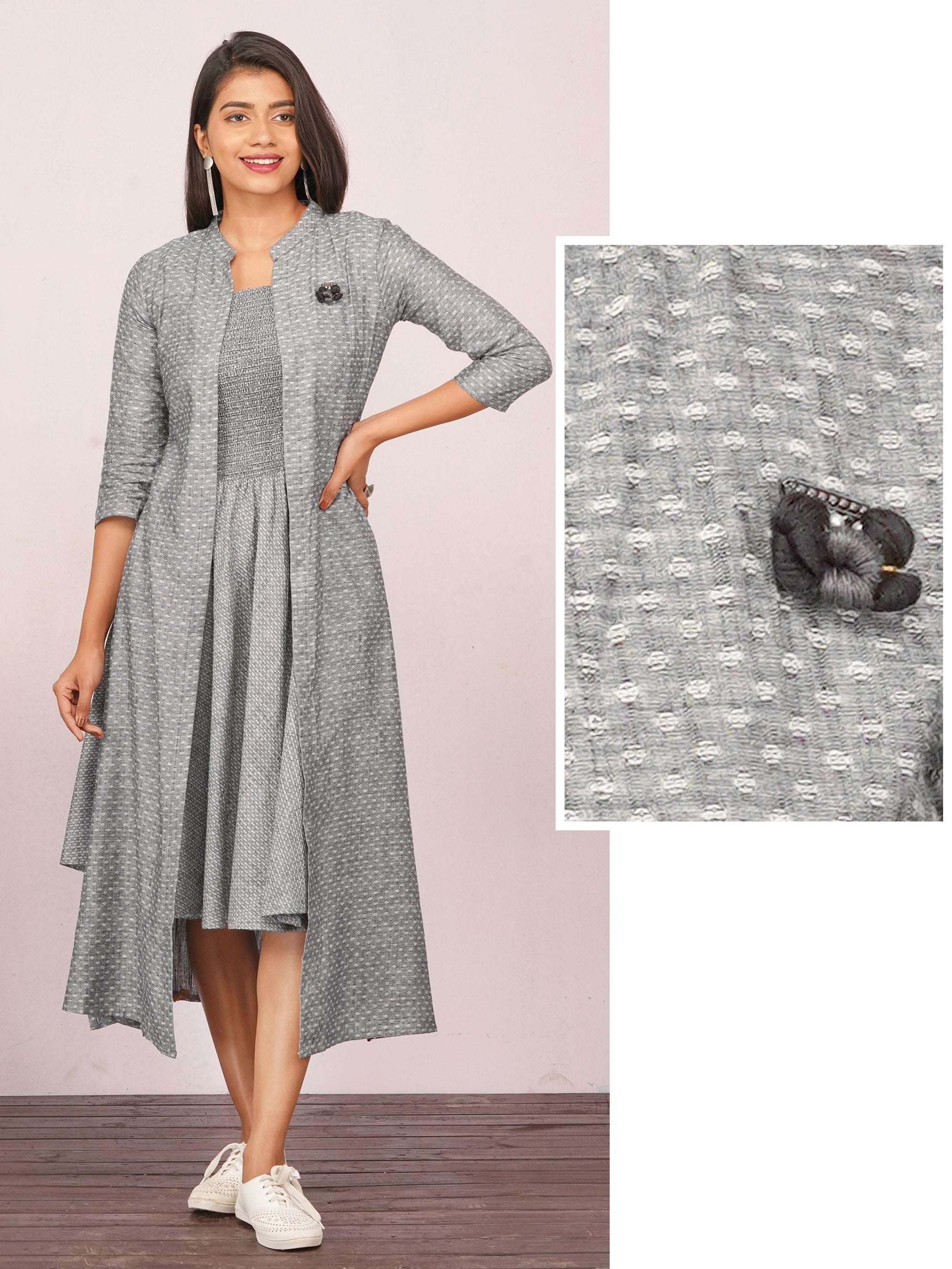 Smocking Bias Cut Maxi with Printed Jacket – Grey