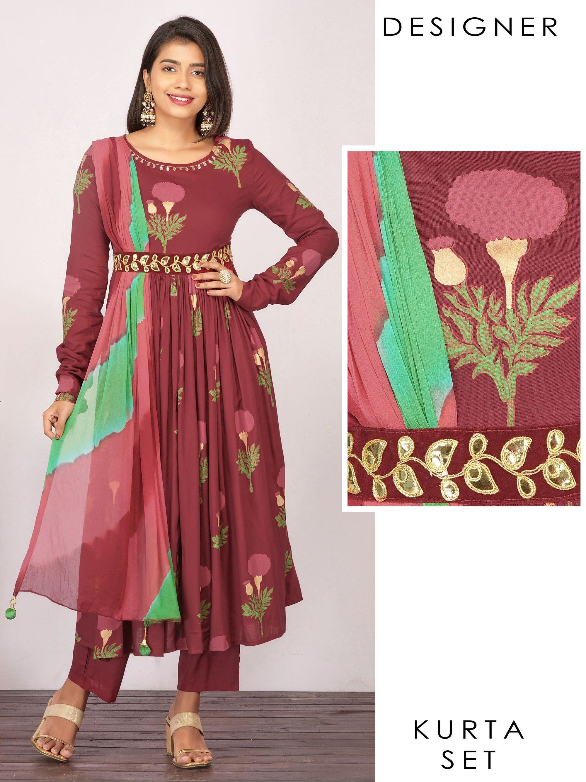Rexine Embroidered & Draped Floral Anarkali with Pant - Maroon