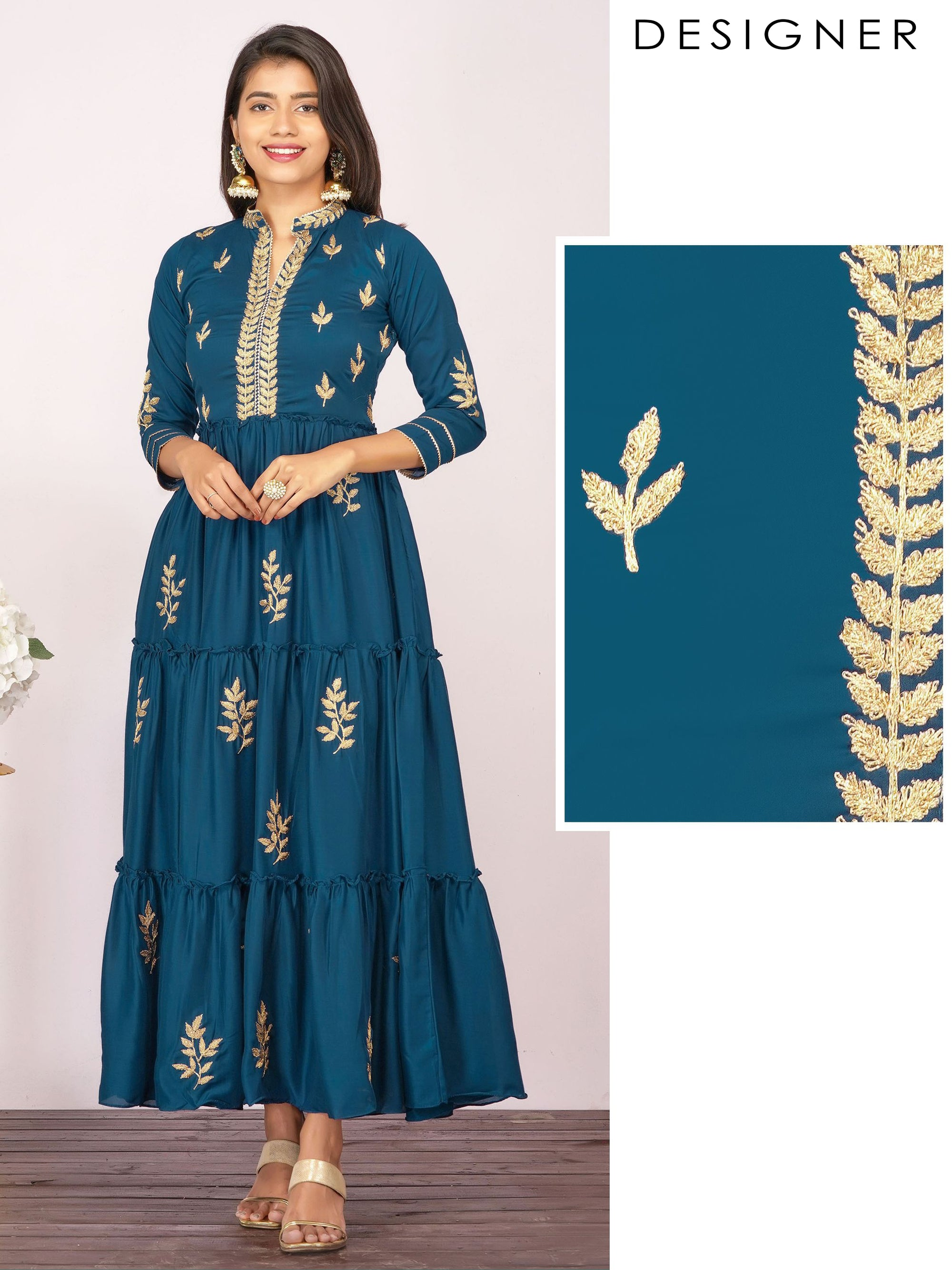 Zari Cord Embroidered & Tiered Temple Gota Designer Maxi – Teal Blue