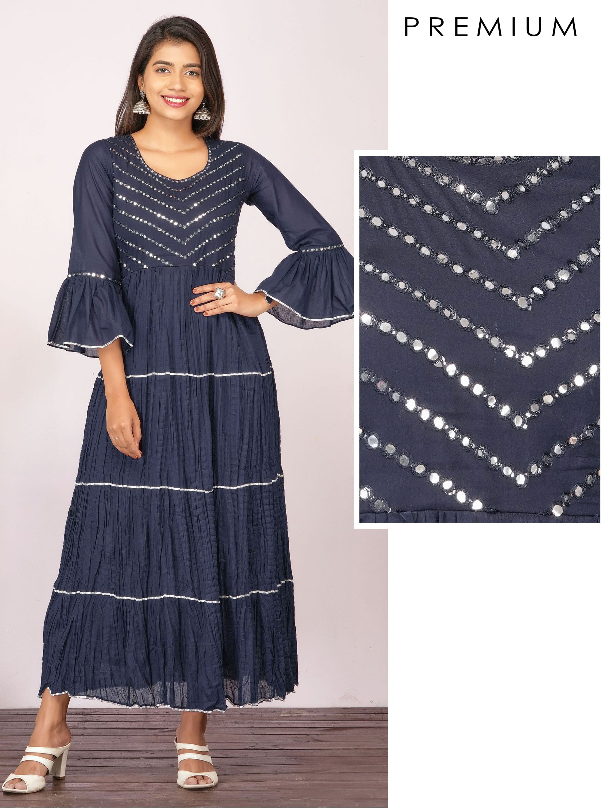 Foil Mirror worked & Gota Embellished Maxi – Navy Blue