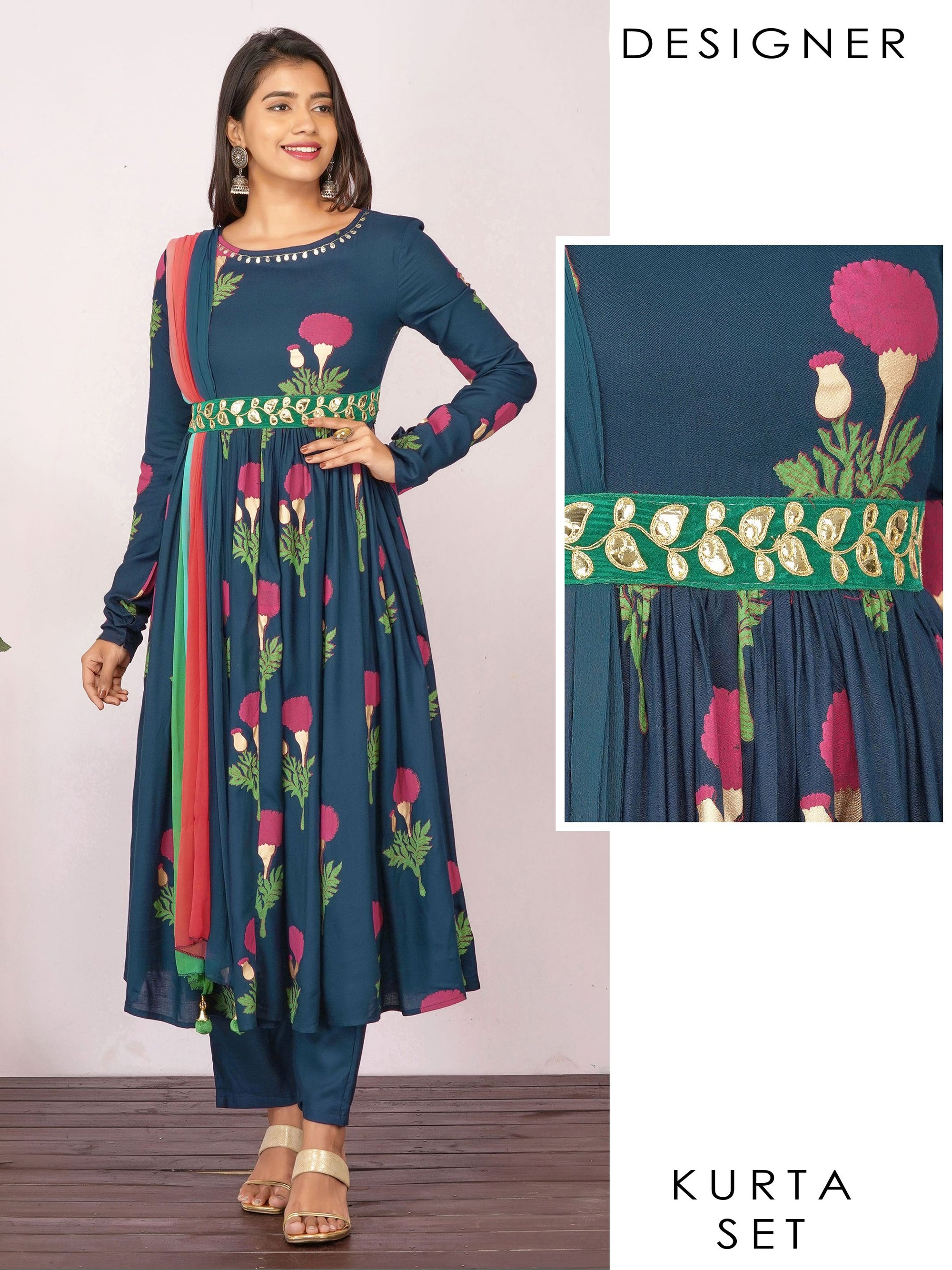 Rexine Embroidered & Draped Floral Anarkali with Pant - Navy Blue