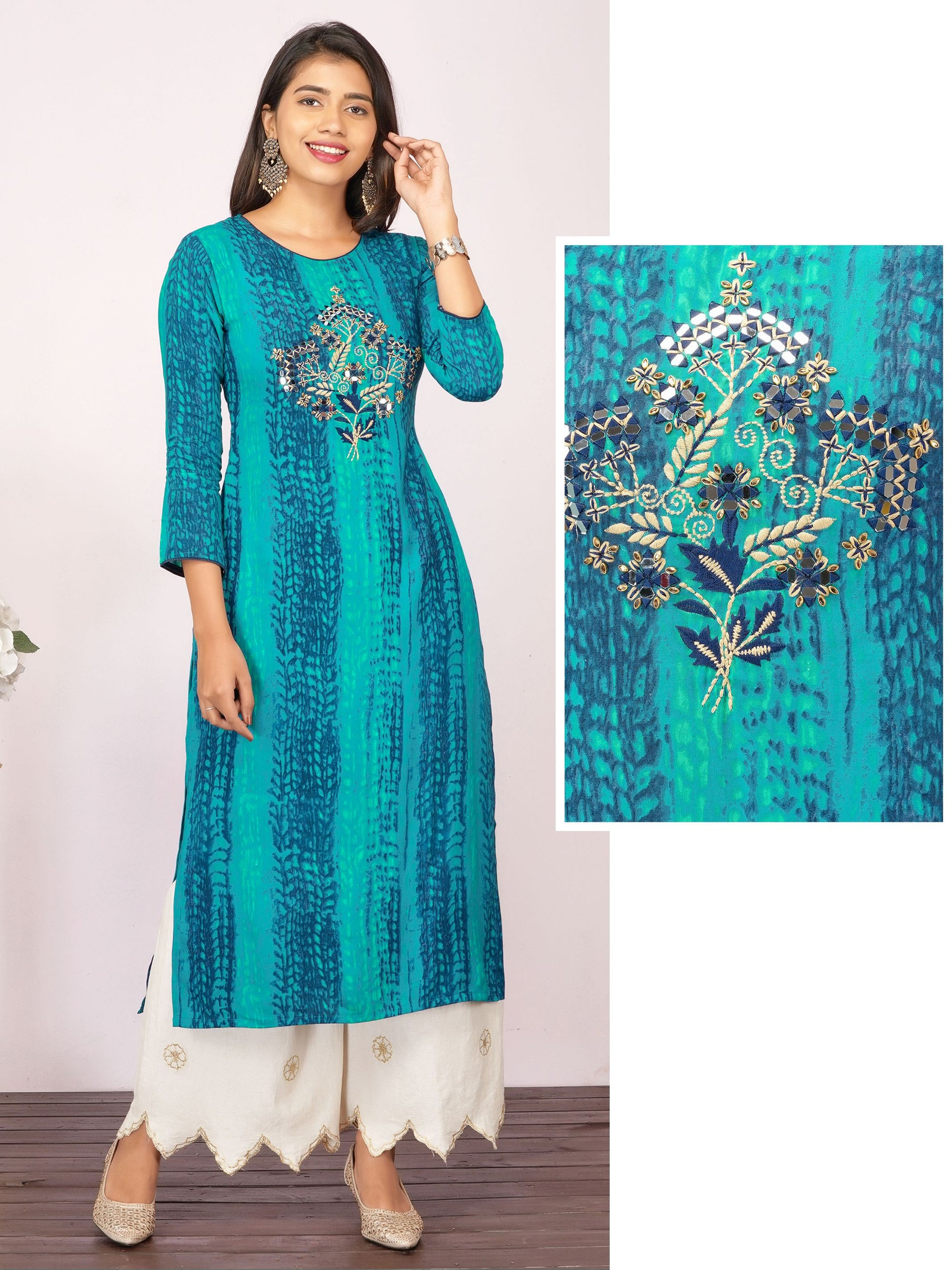 Floral Mirror Embroidered & Shibori Printed Rayon Kurti – Peacock Blue