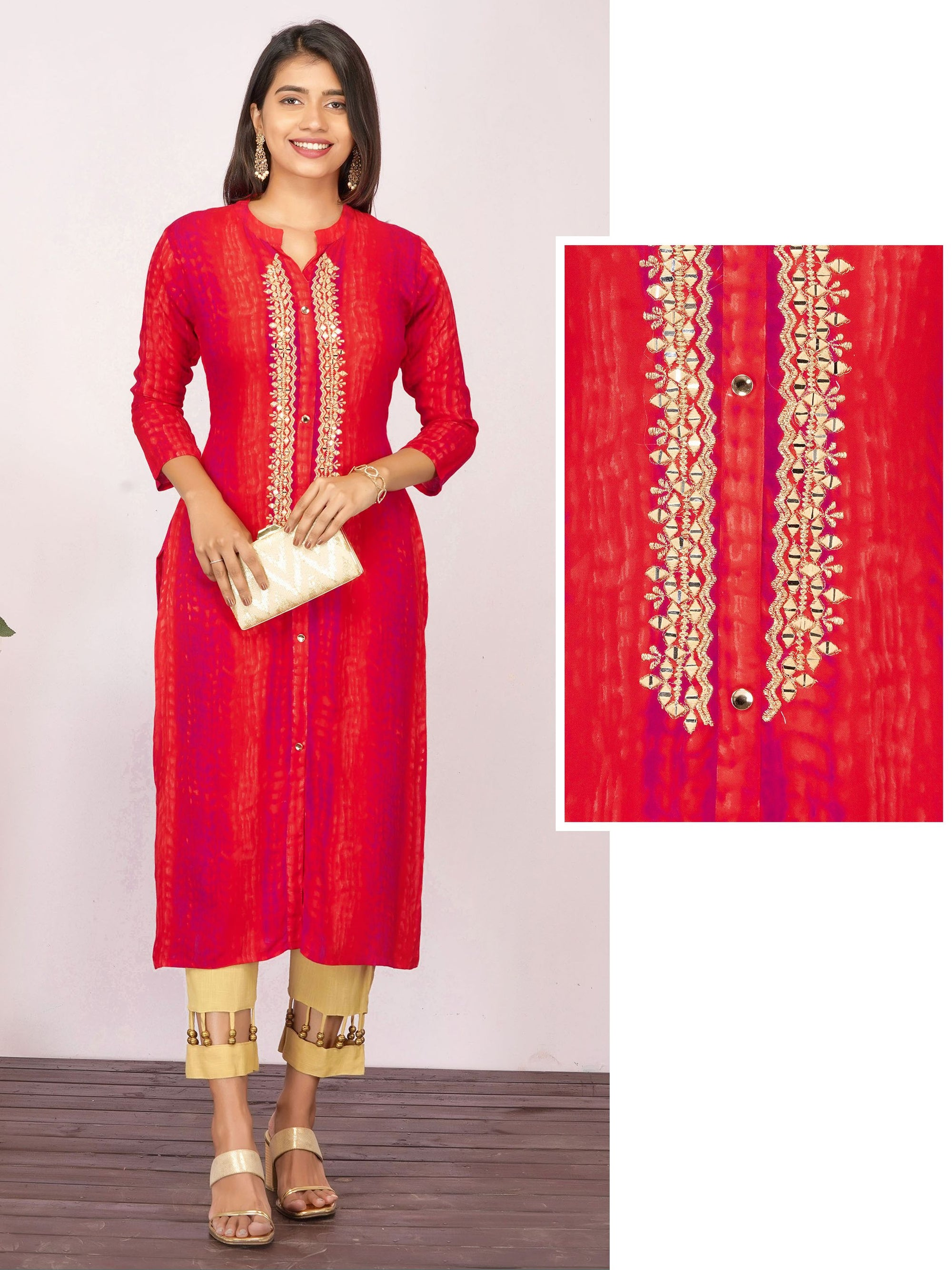 Mirror work Embroidered & Shibori Printed Rayon Kurti - Cherry Red
