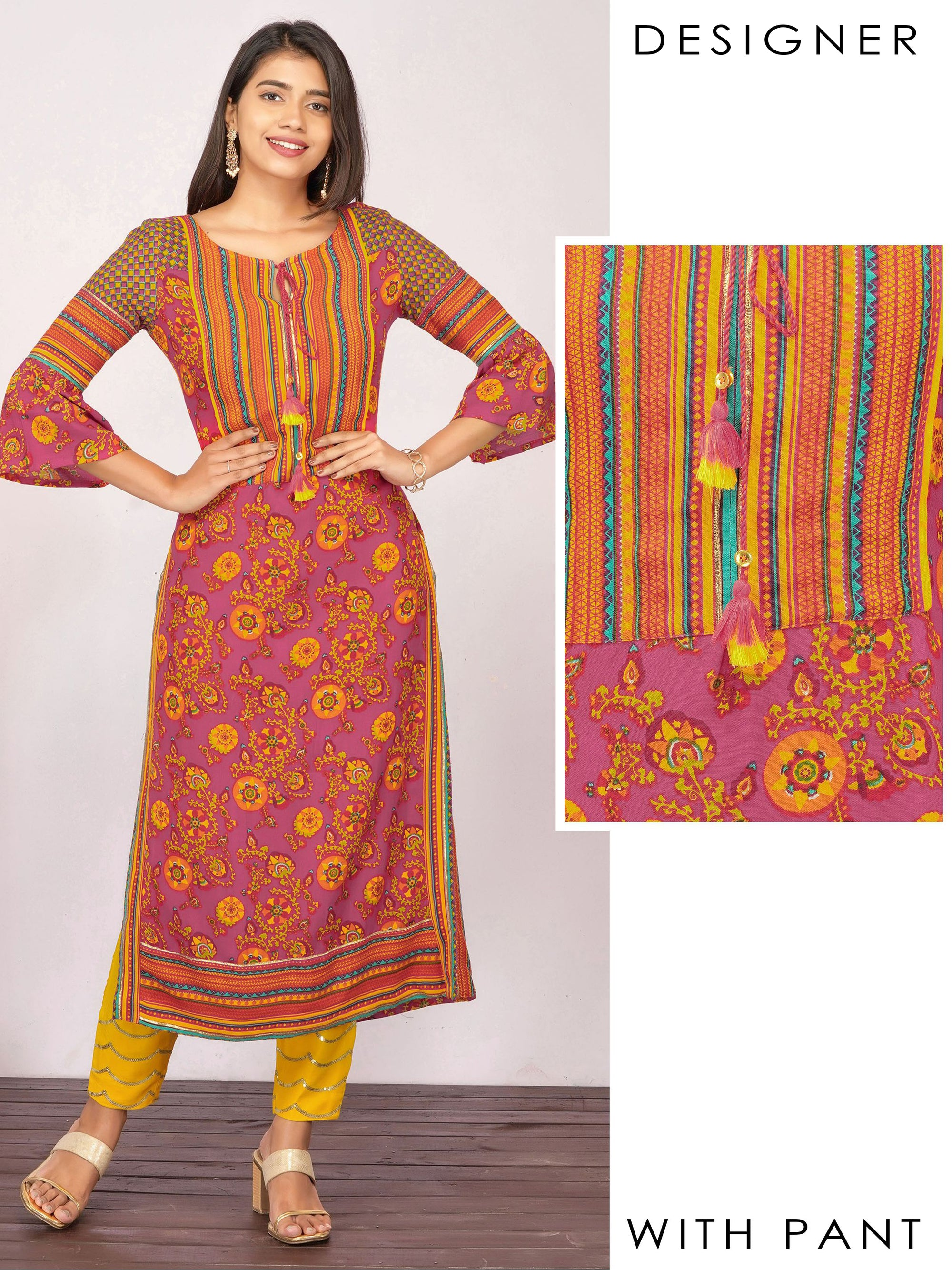 Vibrant Floral Printed Kurti & Sequined Pant Set