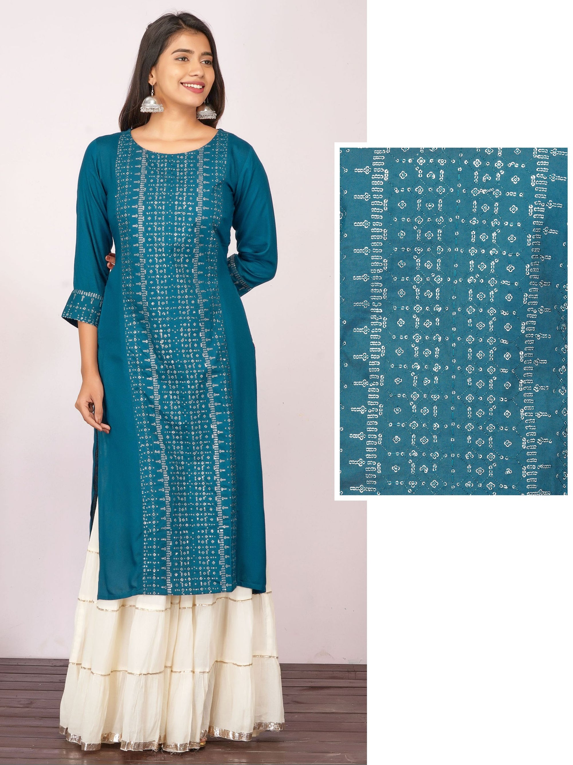 Silver Sequins Embroidered Rayon Kurti– Teal Blue
