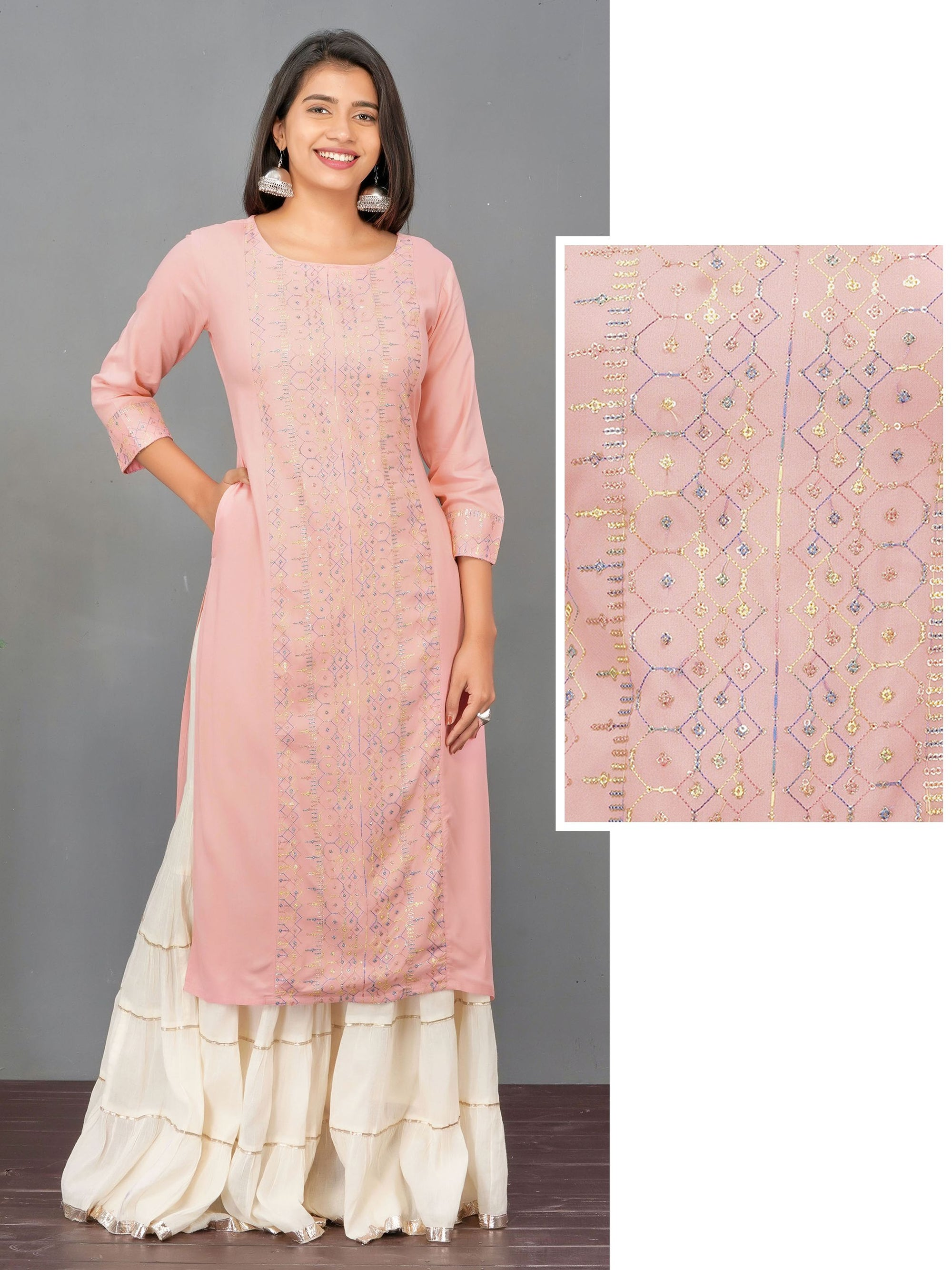 Silver Sequins Embroidered Rayon Kurti – Baby Pink