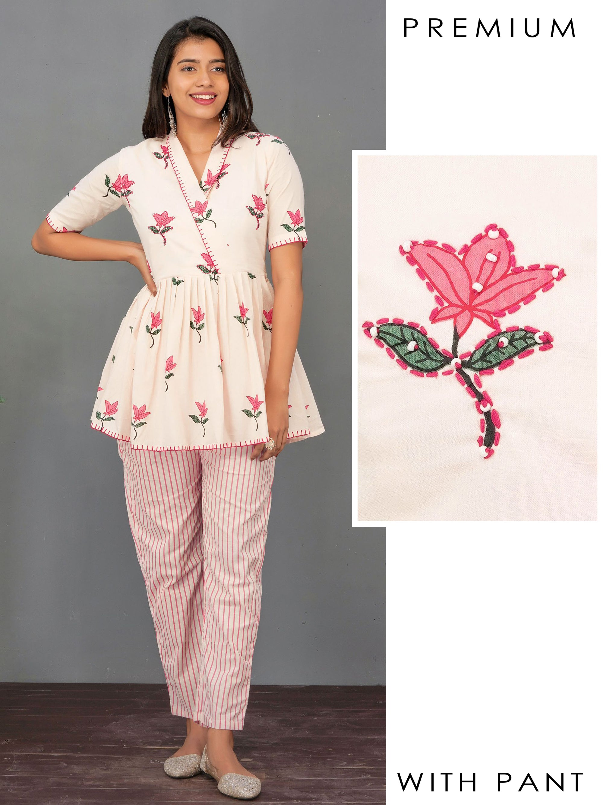 Floral Printed & Running Stitched Peplum Tunic & Striped Pant Set