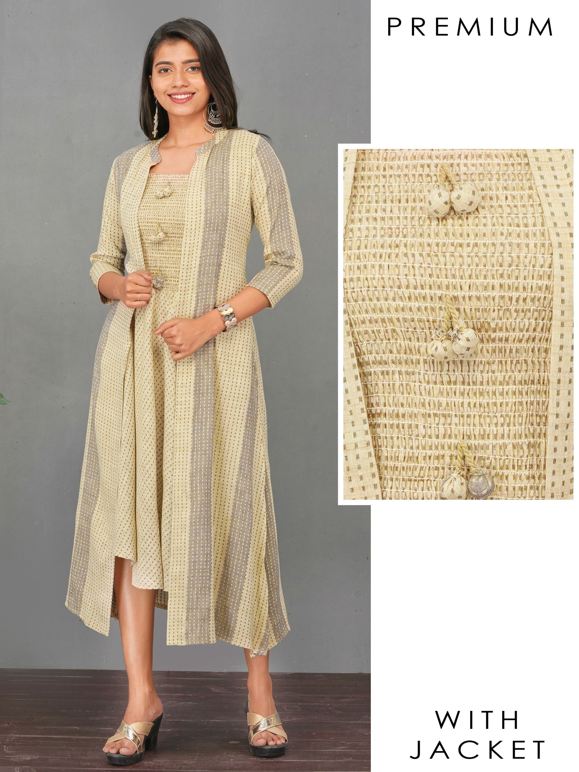 Smocking Bias Cut Maxi with Vertical Striped Jacket – Beige