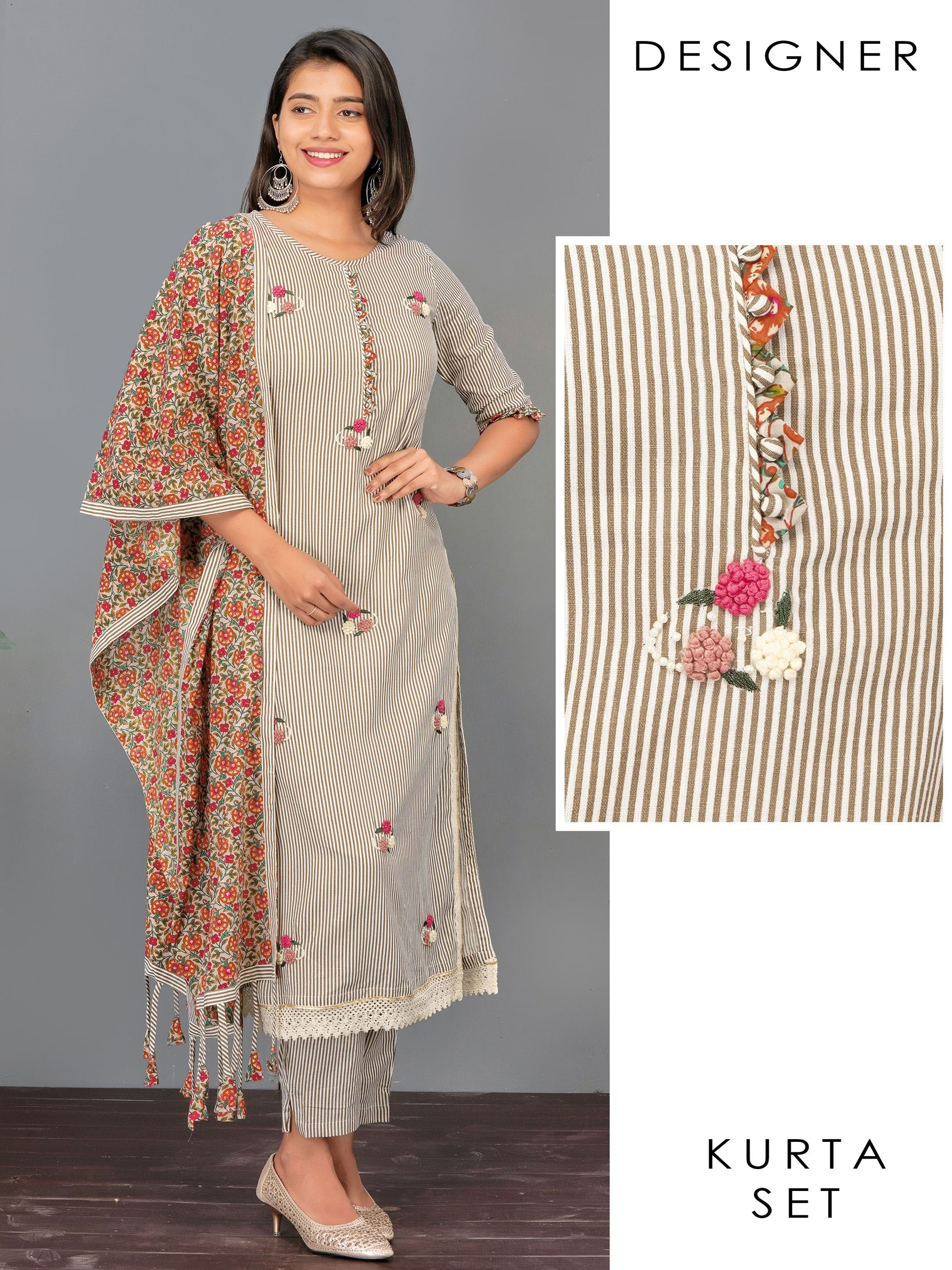French Knot Floral Embroidered Kurti, Bengal Striped Pant & Floral Dupatta Set