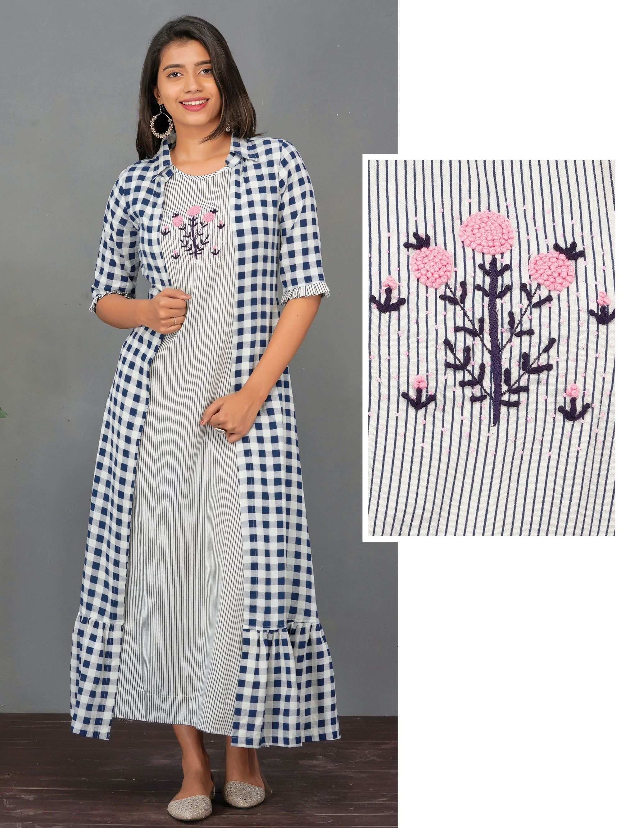 French Knot Embroidered A-Line Maxi with Checkered Jacket – Indigo