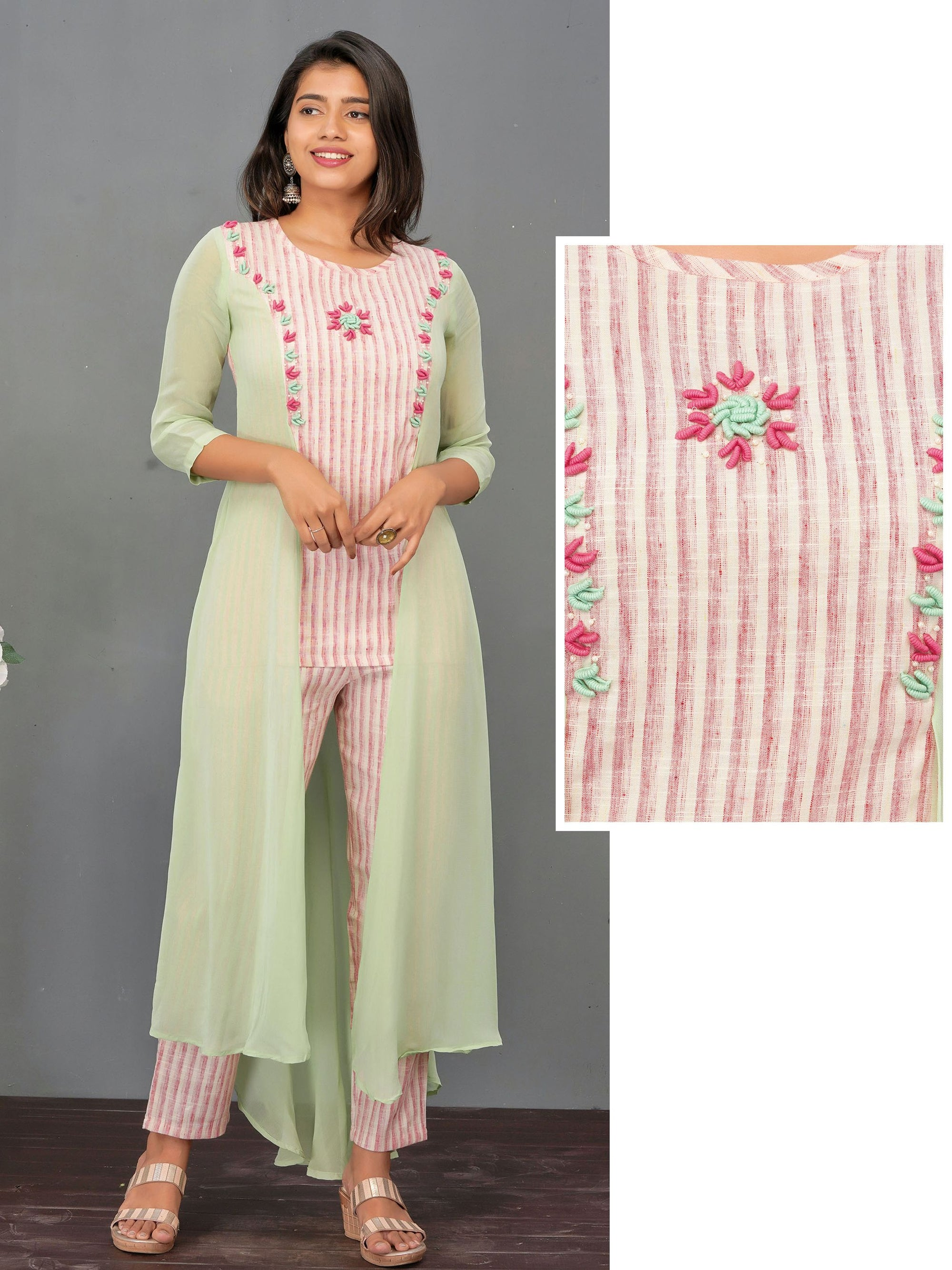 Bullion Embroidered Asymmetric layered Kurti & Striped Pant Set – Pista Green